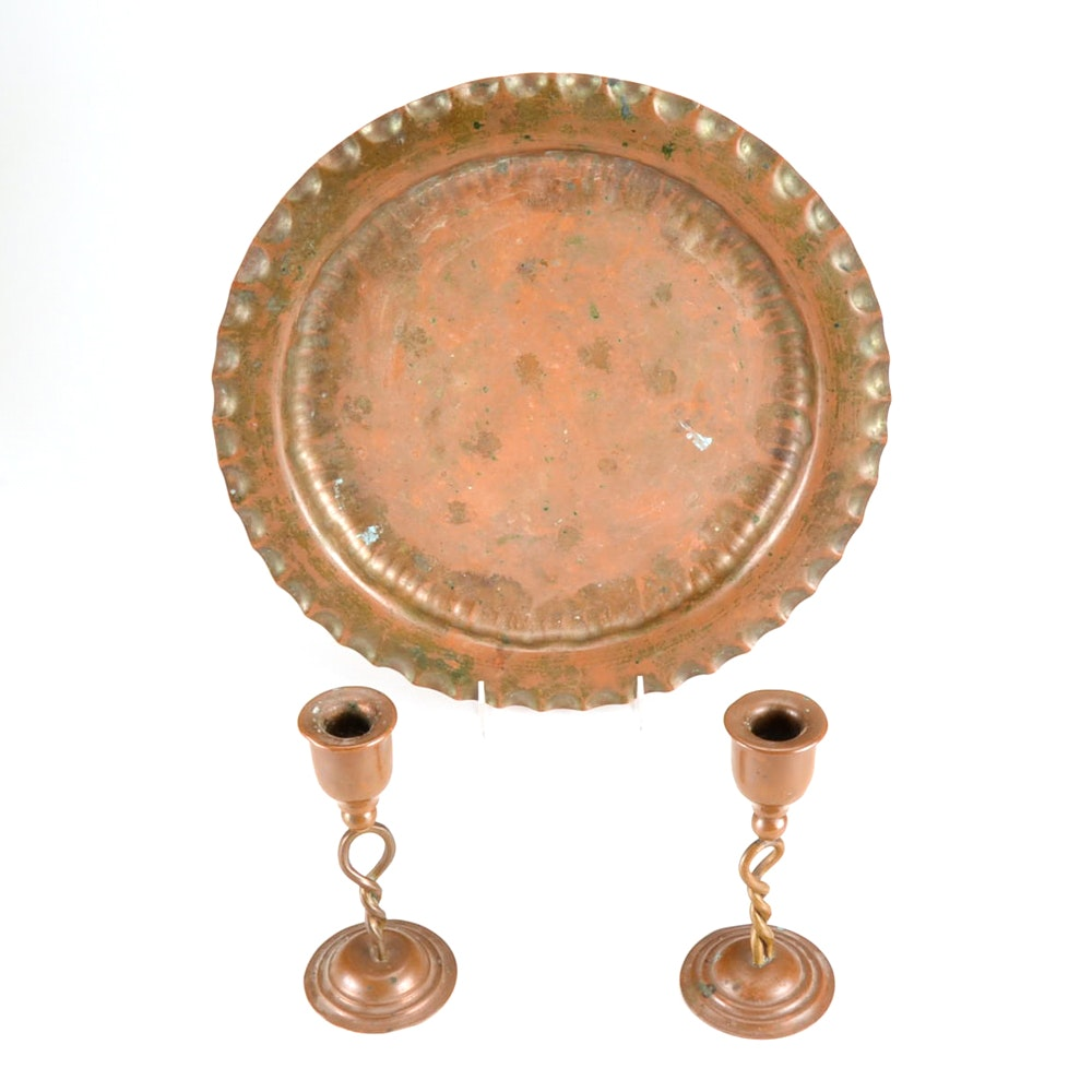 Vintage Copper Decor Items, Including Drumgold