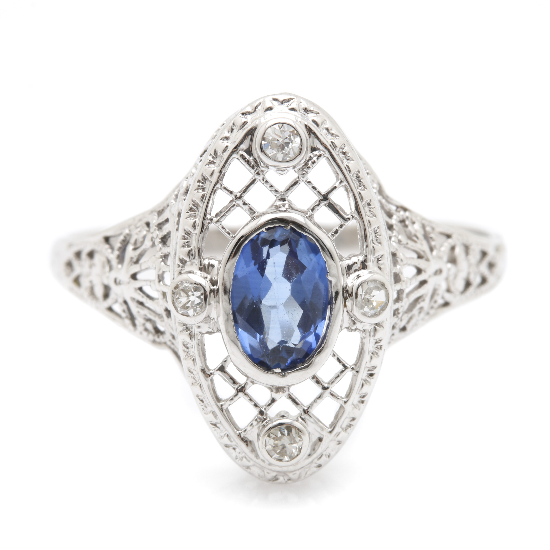 Late Edwardian 18K White Gold Sapphire and Diamond Ring