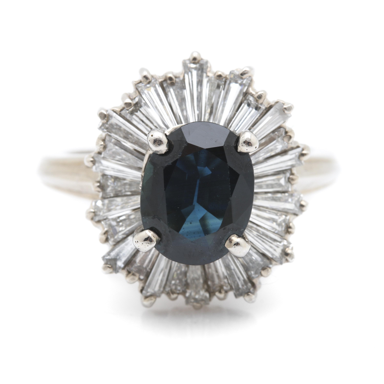 18K White Gold 1.80 Carat Sapphire and 1.96 CTW Diamond Ring