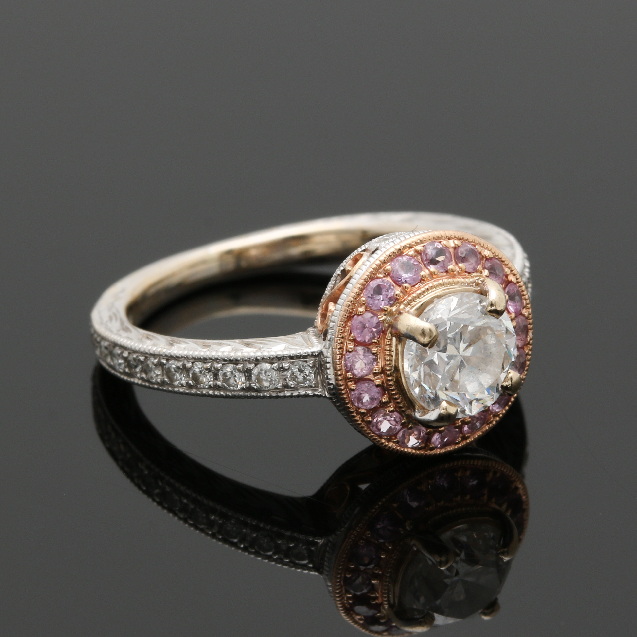18K White and Rose Gold Diamond and Pink Sapphire Ring