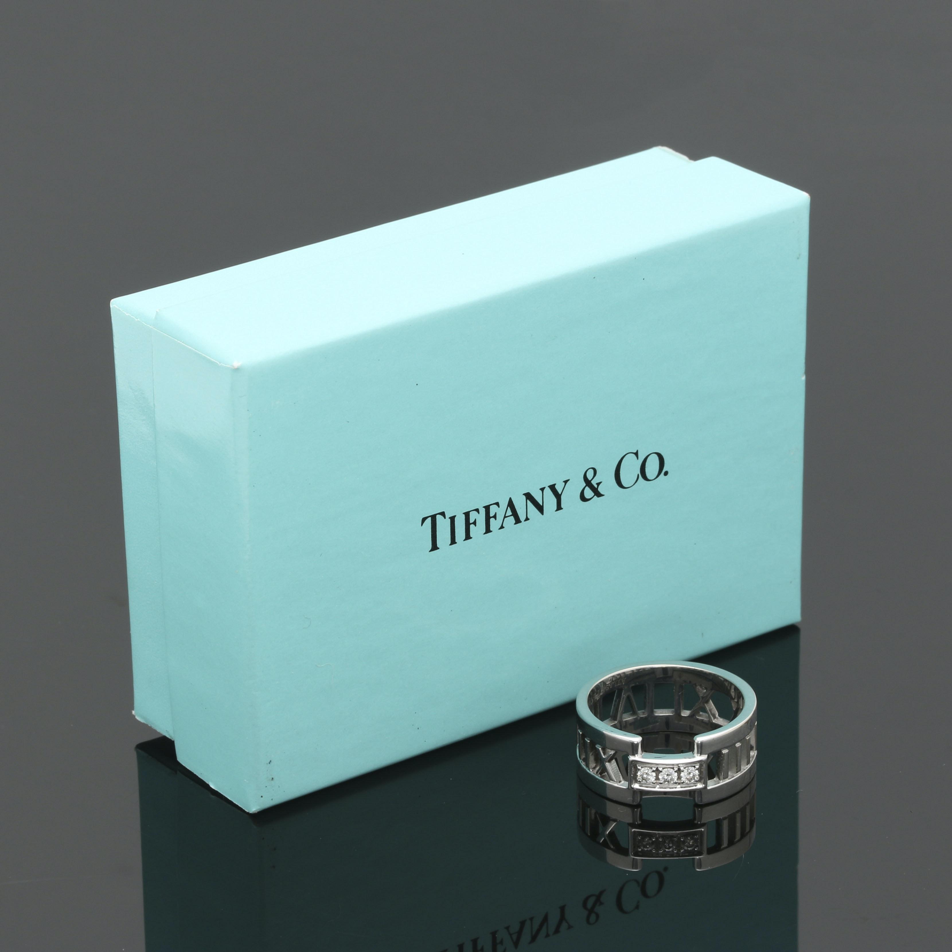 "Tiffany & Co. 18K White Gold Diamond Roman Numeral ""Atlas"" Ring"