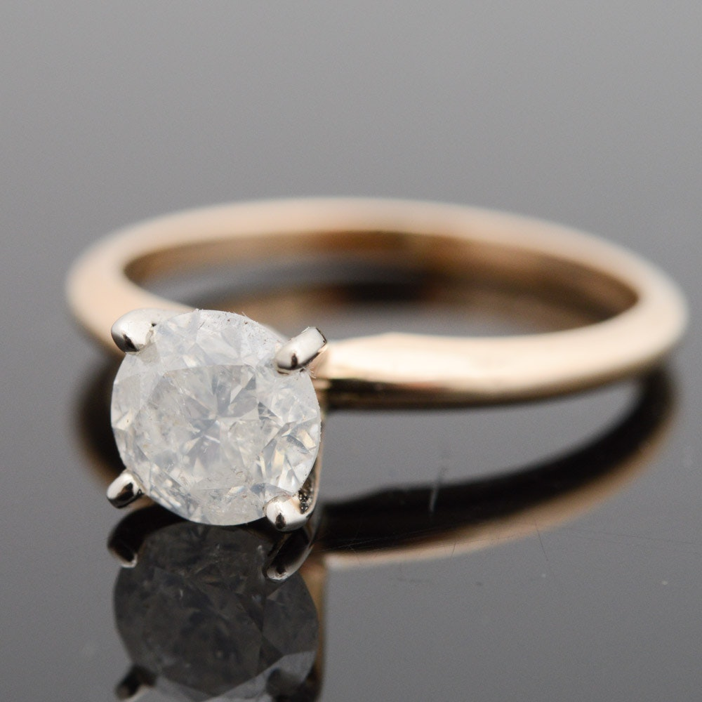 14K Yellow Gold 1.03 CT Diamond Engagement Ring