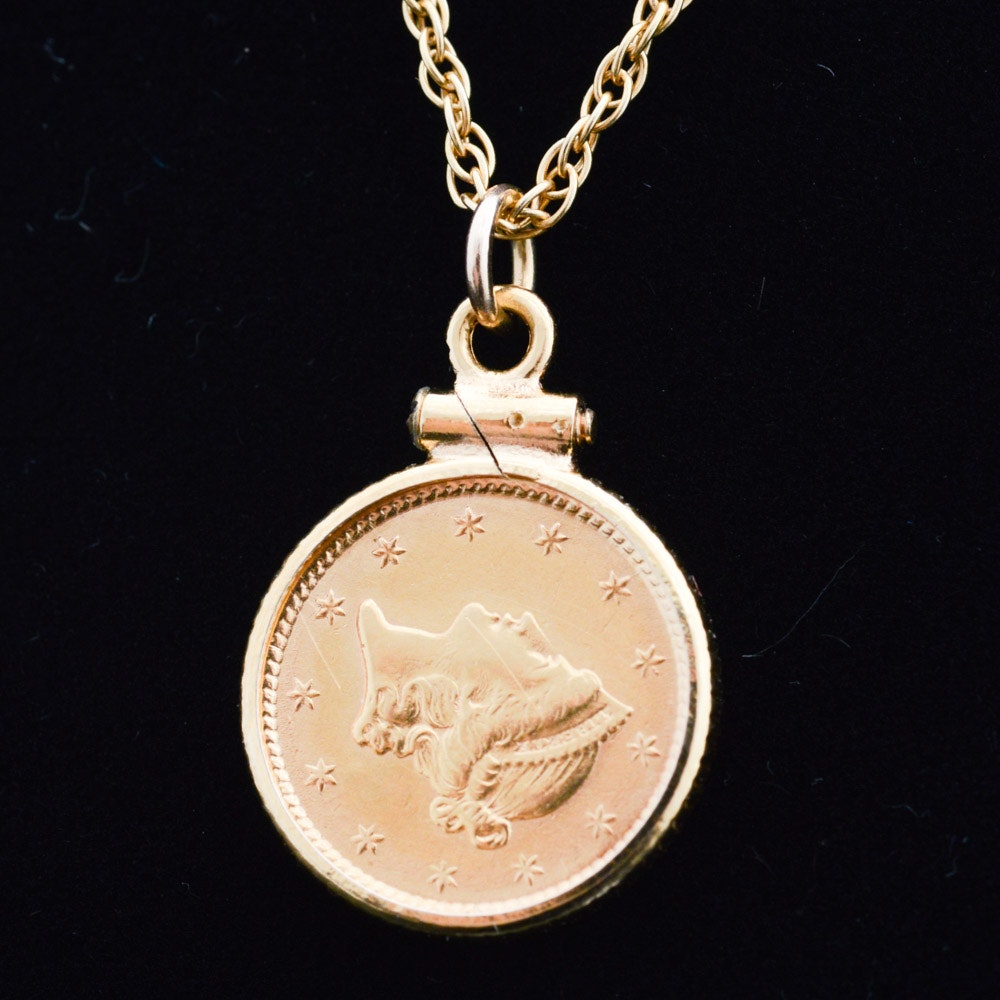 14K Yellow Gold Set 1853 Liberty Head Gold Dollar Coin Pendant Necklace