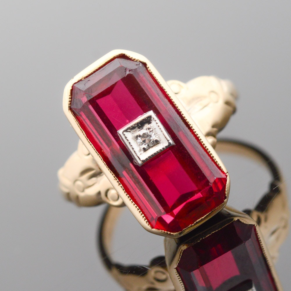 Vintage 14K Yellow Gold Diamond and Synthetic Ruby Ring
