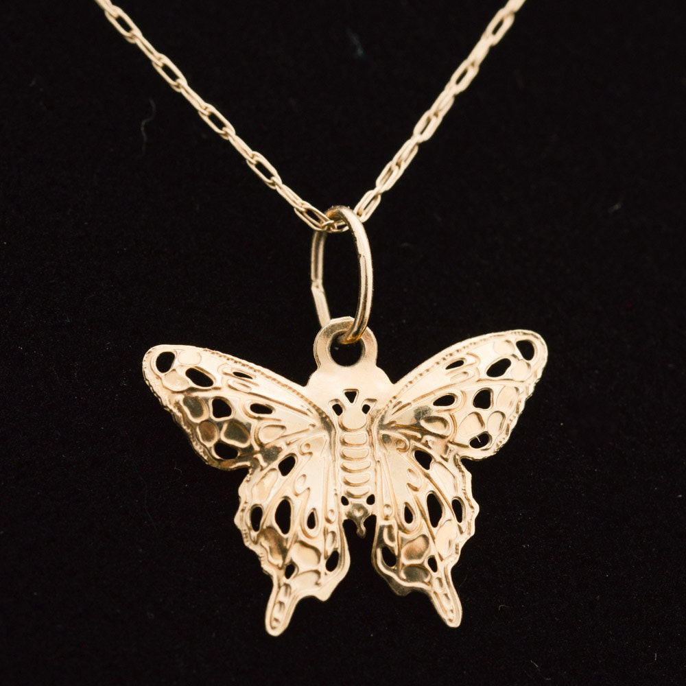 10K Yellow Gold Butterfly Pendant Necklace