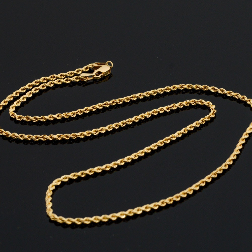 Aurafin 10K Yellow Gold Rope Necklace Chain