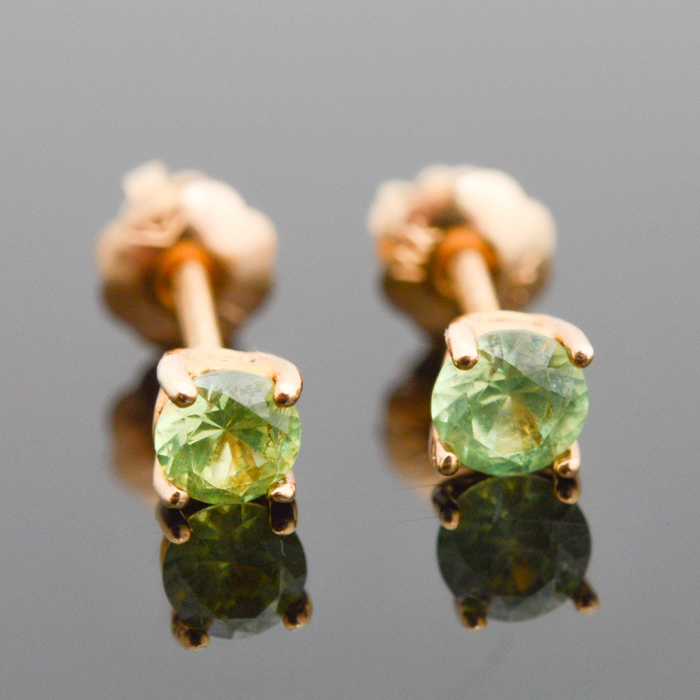 14K Yellow Gold Demantoid Garnet Stud Earrings