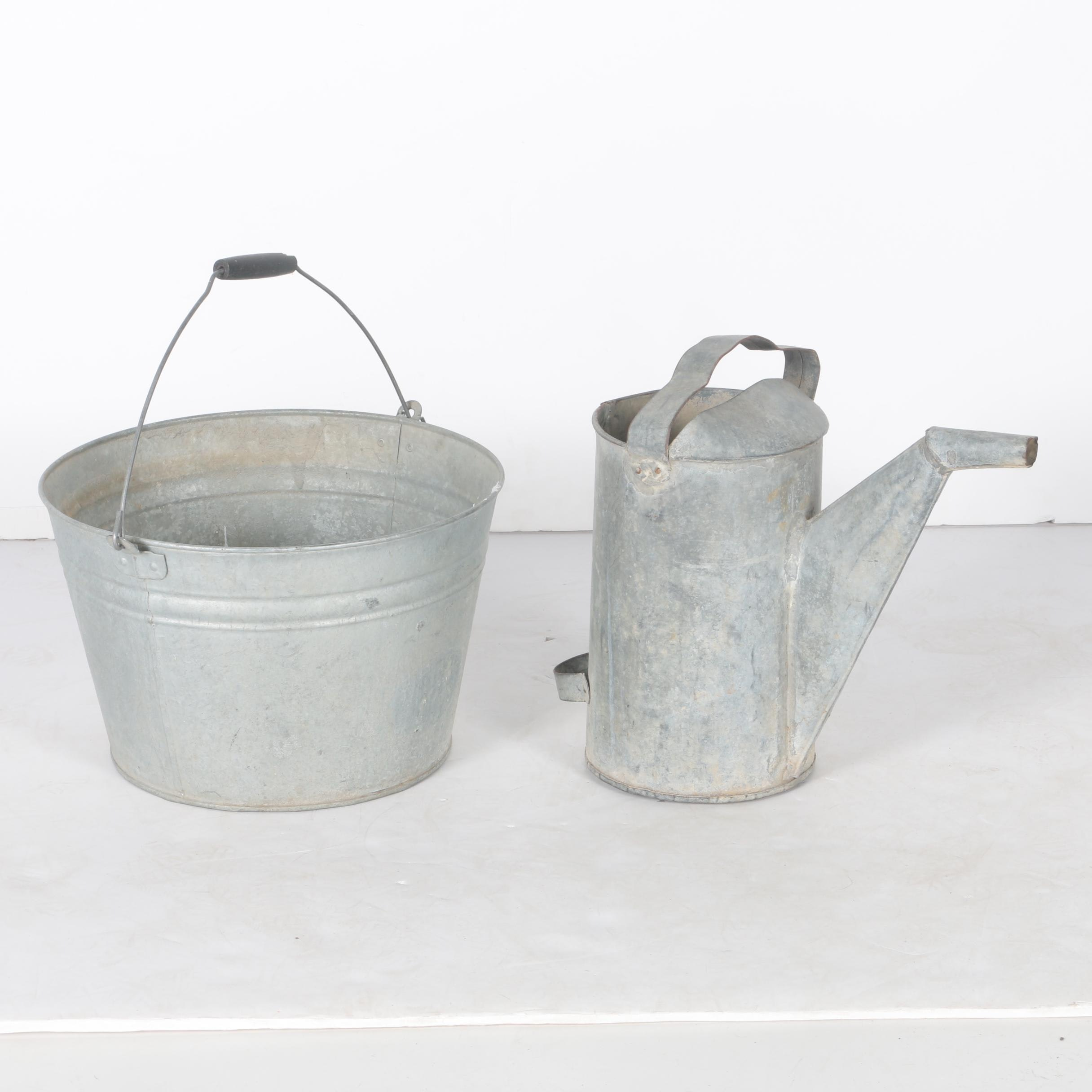 Galvanized Steel Watering Can and Pail