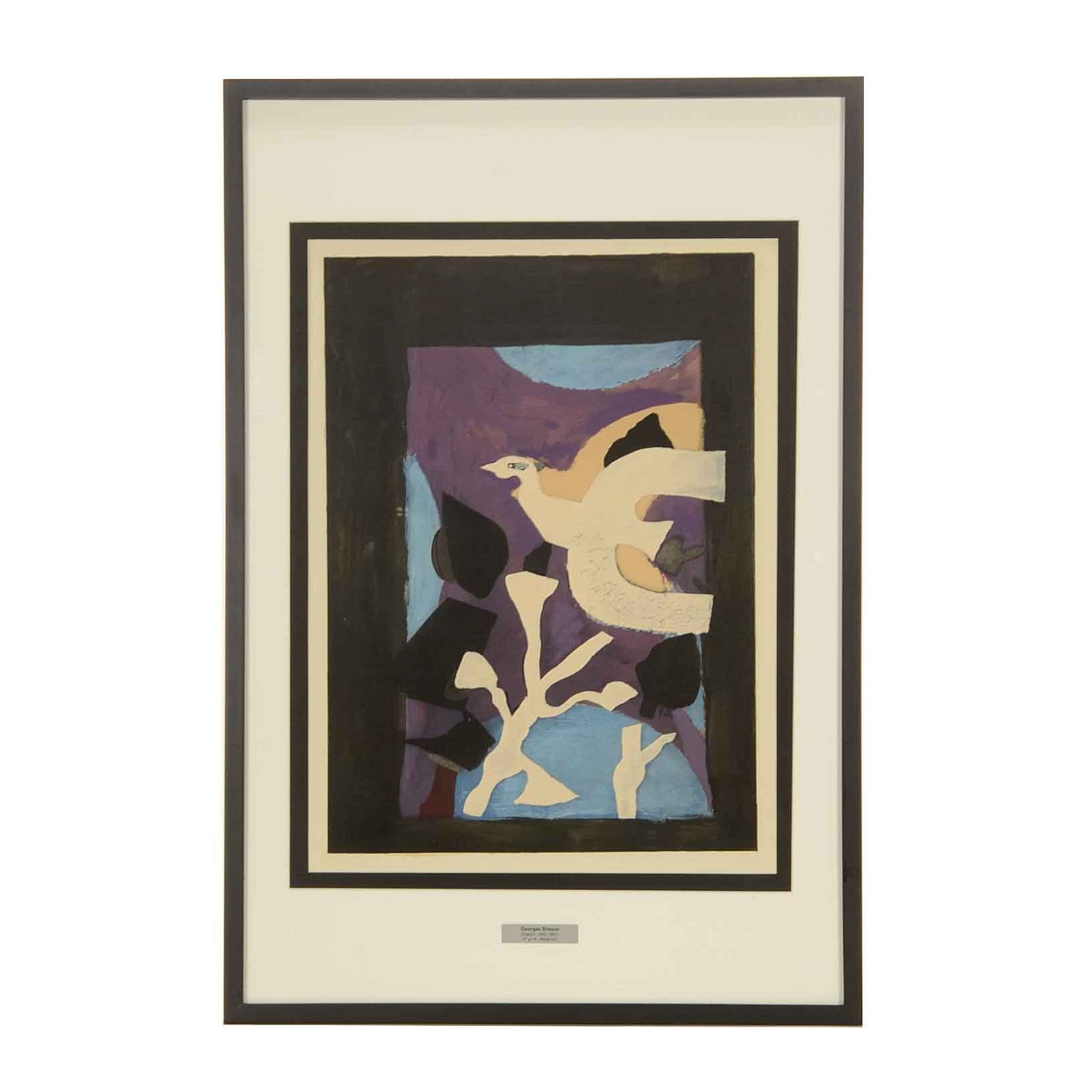 "George Braque 1963 Color Lithograph ""Oiseau et Lotus"""