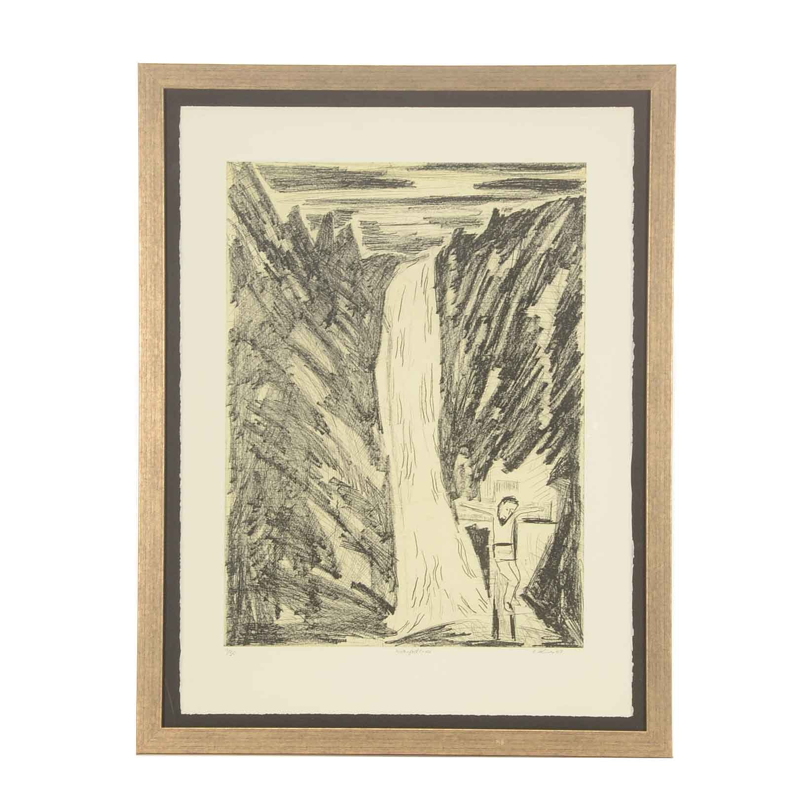 """Albert Shives Limited Edition Soft Ground Etching """"Waterfall Cross"""""""