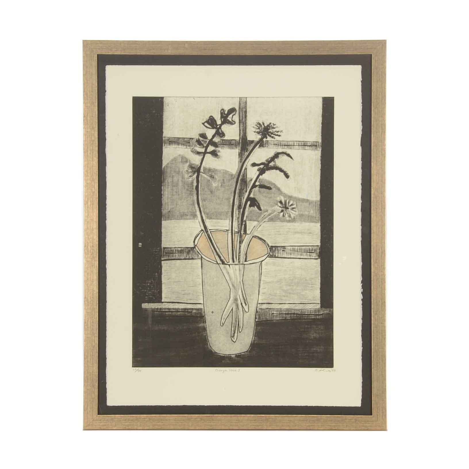 "Albert Shives Limited Edition Soft Ground Etching ""Orange Vase I"""