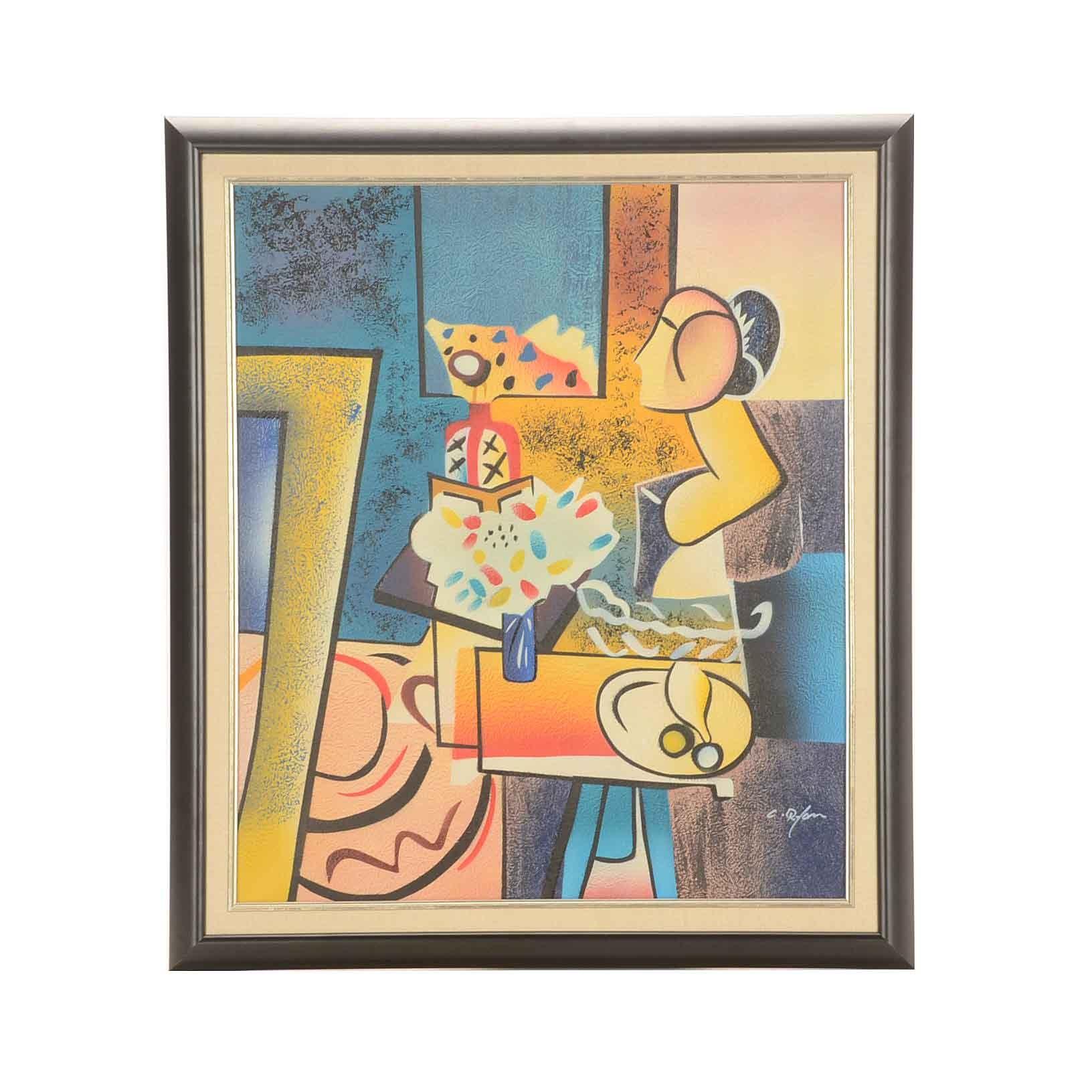 C. Ryan Original Mixed Media Cubist Still Life Painting