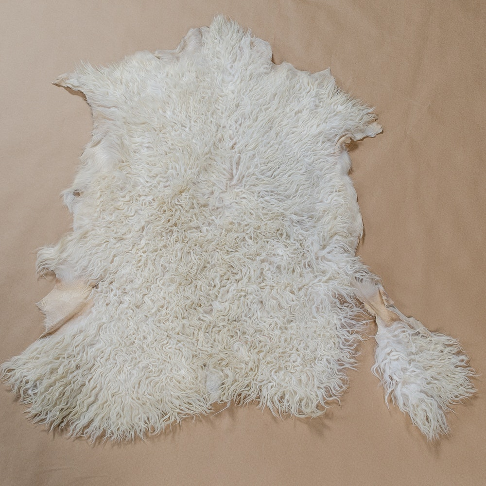 Ivory and Cream Angora Goat Hide Accent Rug