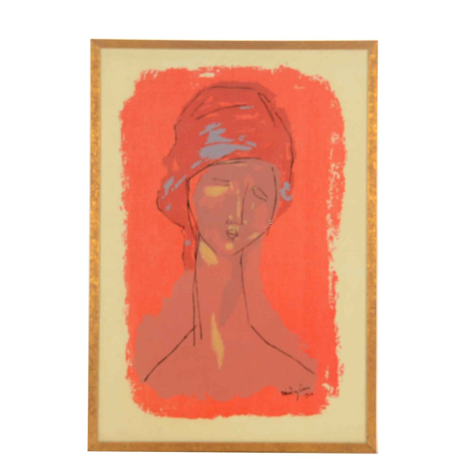 "Serigraph on Linen after Amedeo Modigliani's ""Tete de Femme"""