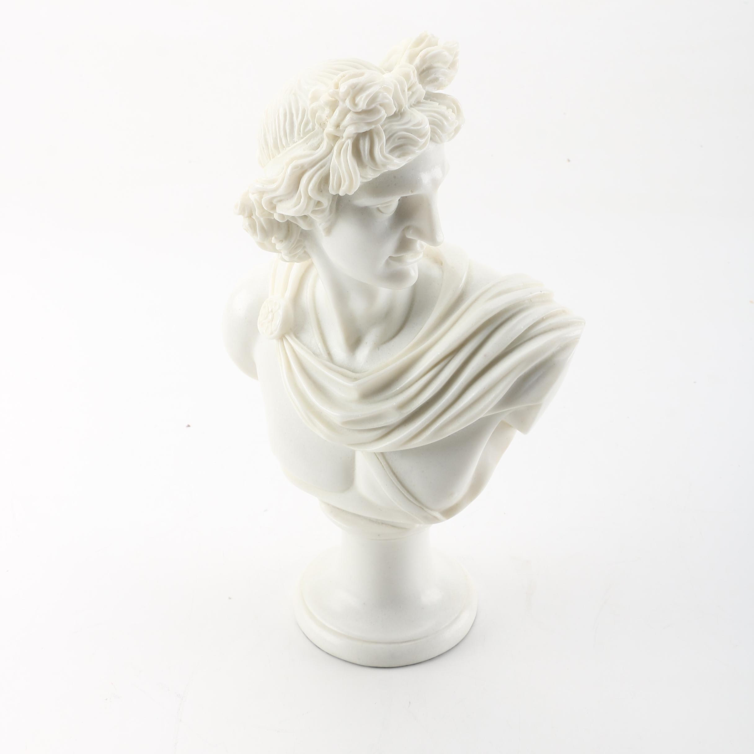 "Tozai Home Faux Marble Bust After ""Apollo Of The Belvedere"" By Leochares"
