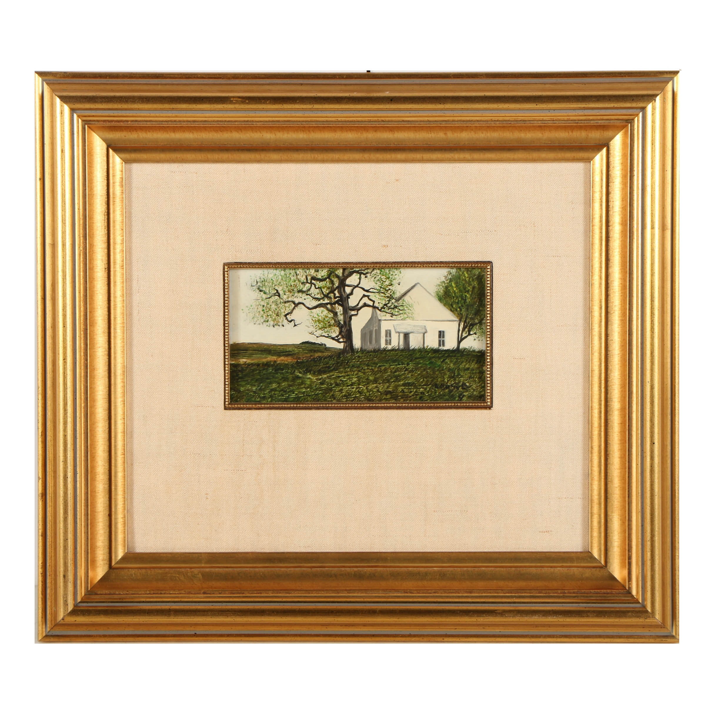 "A. Manning Oil Painting on Canvas ""Tree in Front of White House"""