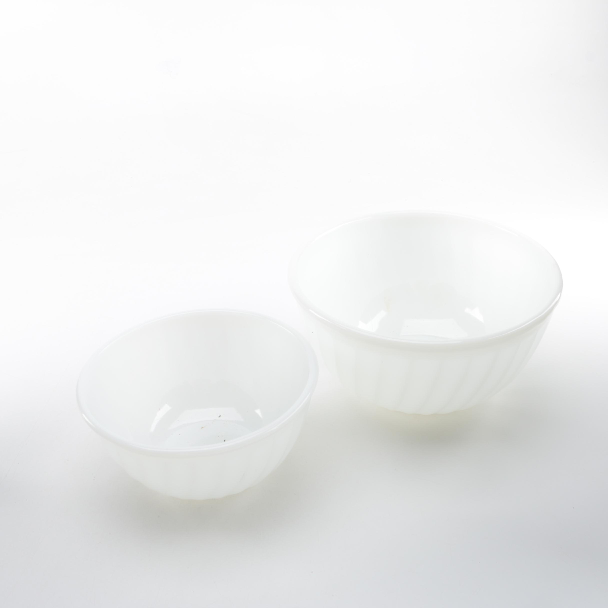 Pair of Anchor Hocking Milk Glass Mixing Bowls
