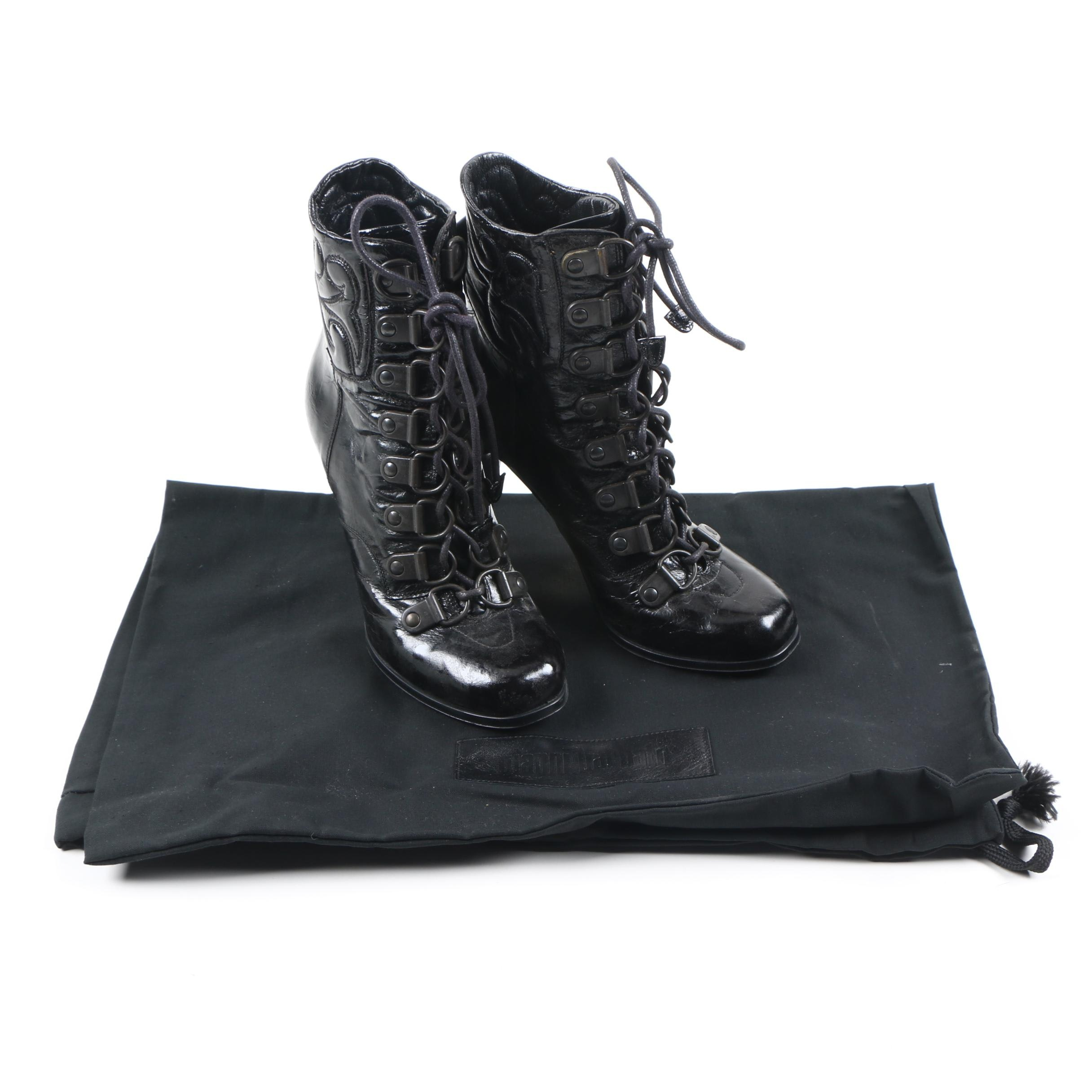Gianni Barbato Victorian Style Black Patent Leather Booties