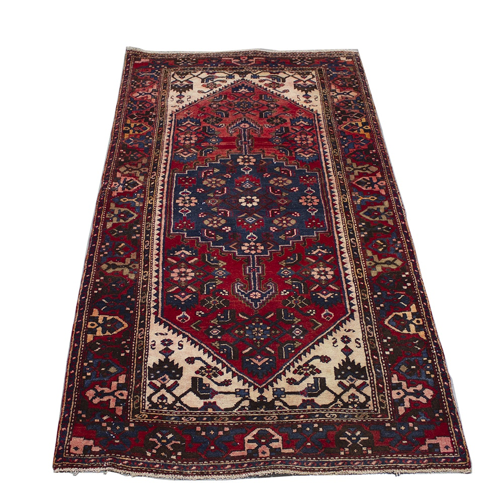 Hand-Knotted Persian Bijar Wool Area Rug