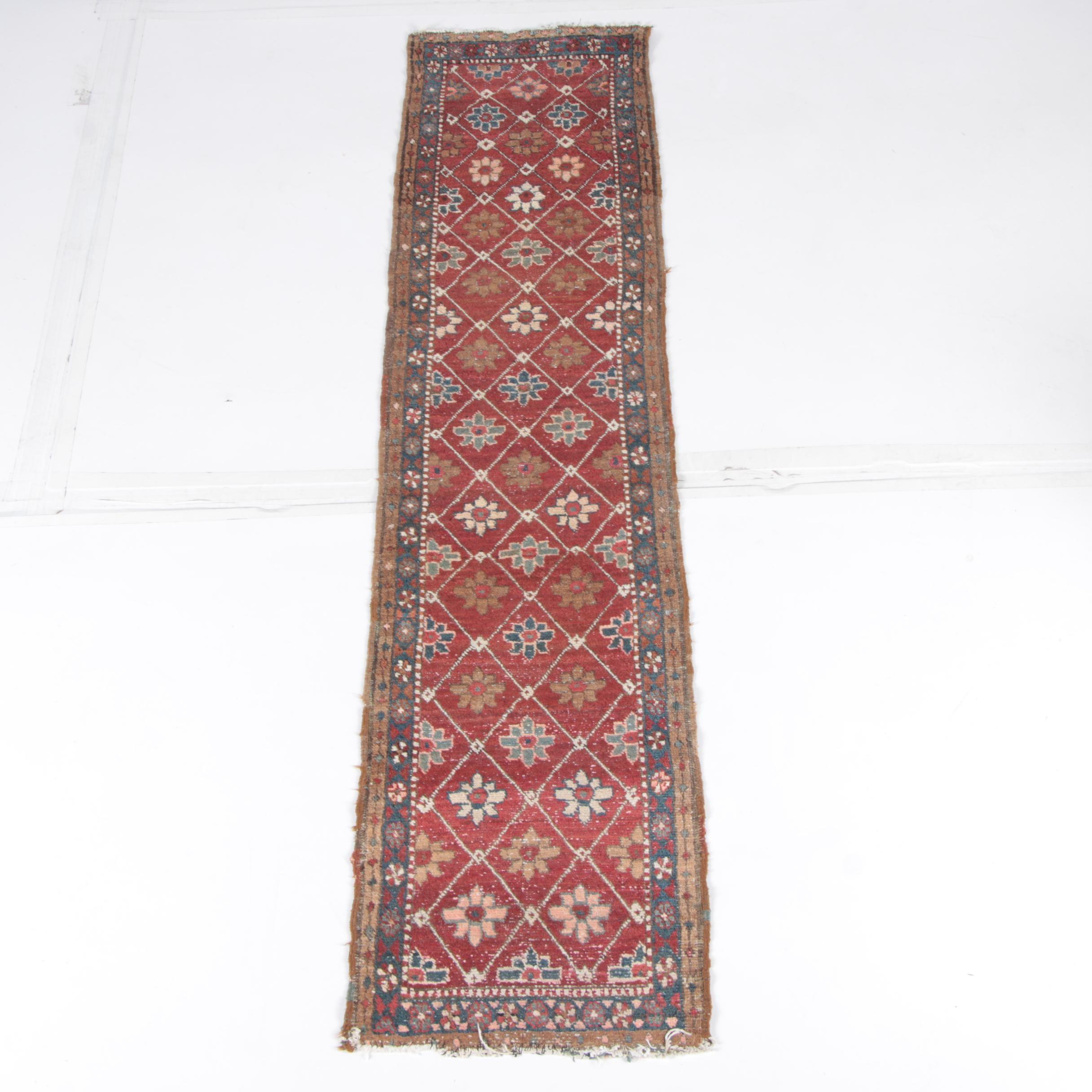Hand-Knotted Caucasian  Lattice Carpet Runner
