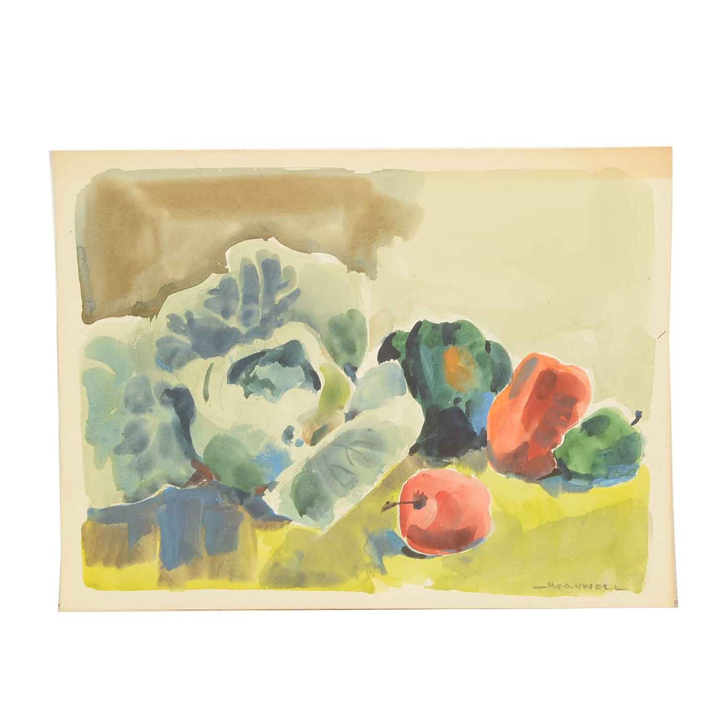 Jack Meanwell Still Life Watercolor Painting on Paper