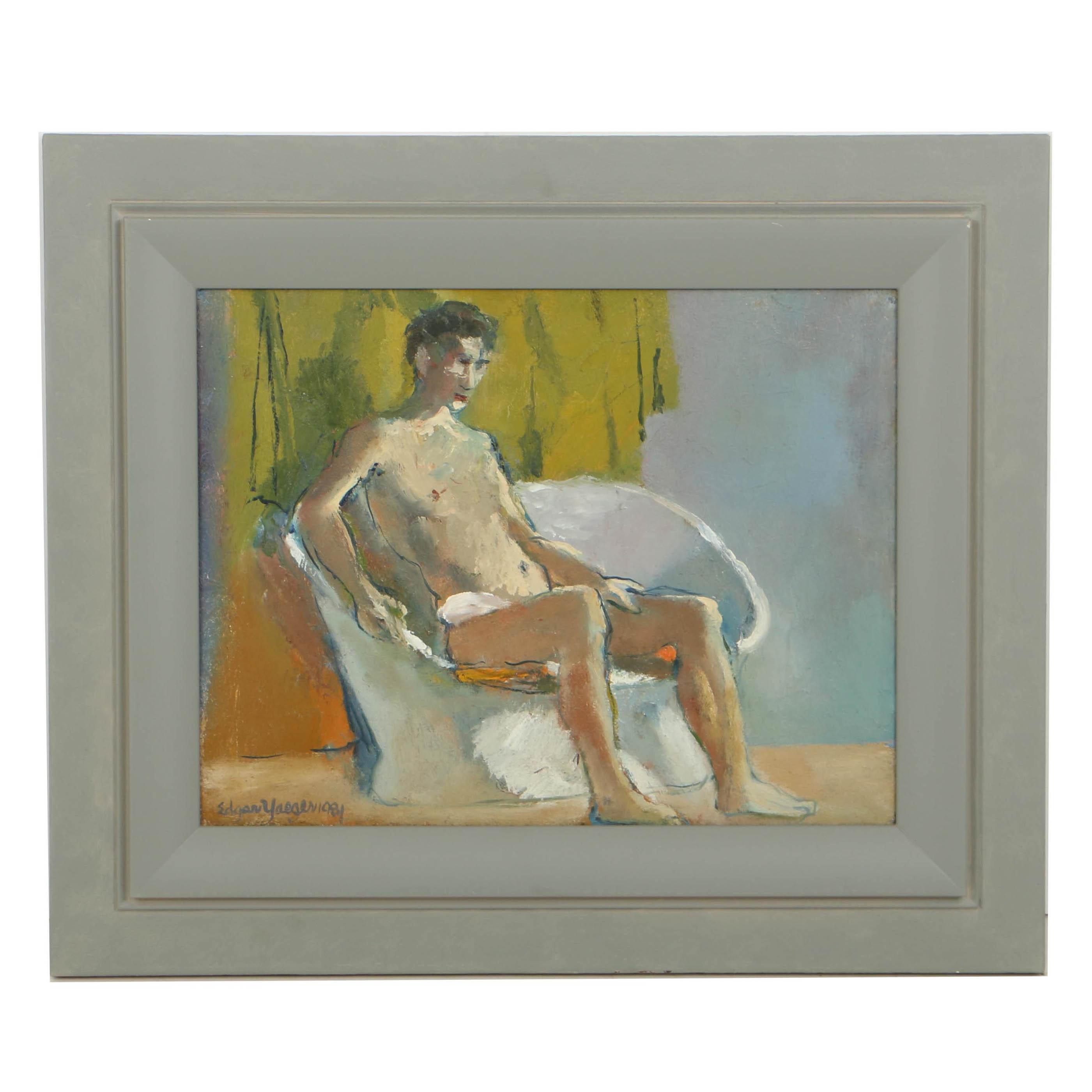 "Edgar Yaeger Oil Painting on Canvas ""Amos"""