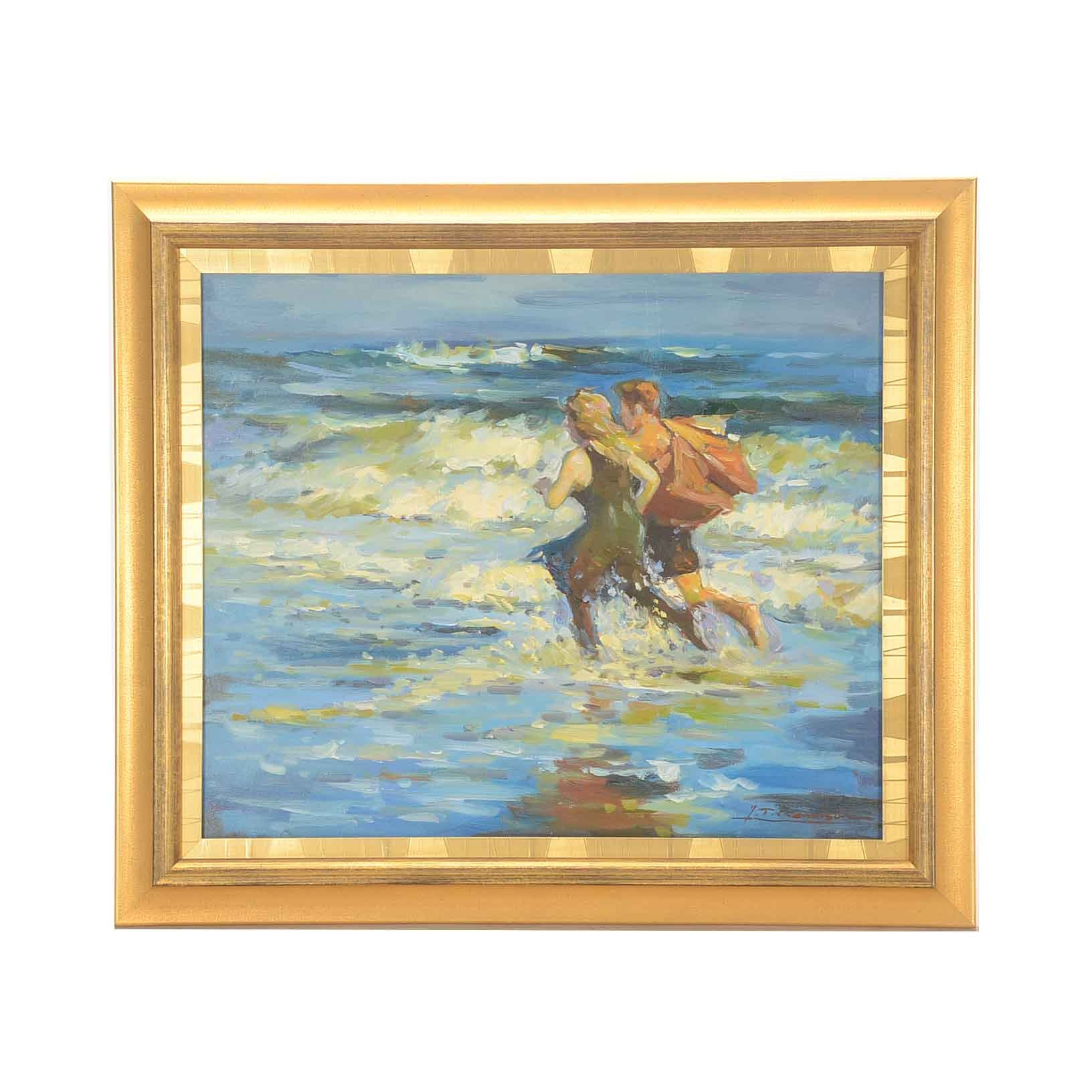 "J.T. Remison Copy Painting after Edward Henry Potthast ""At the Beach"""
