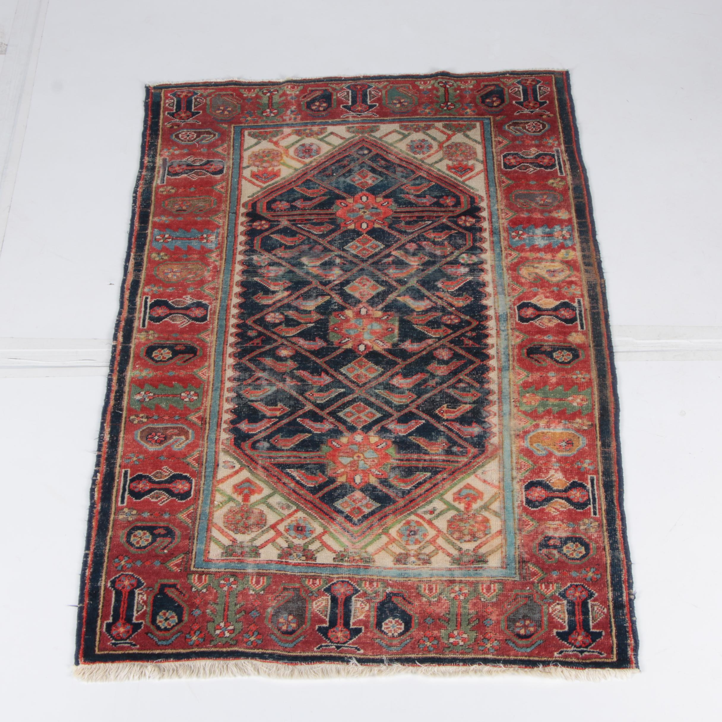 Antique Hand-Knotted Bijar Wool Area Rug
