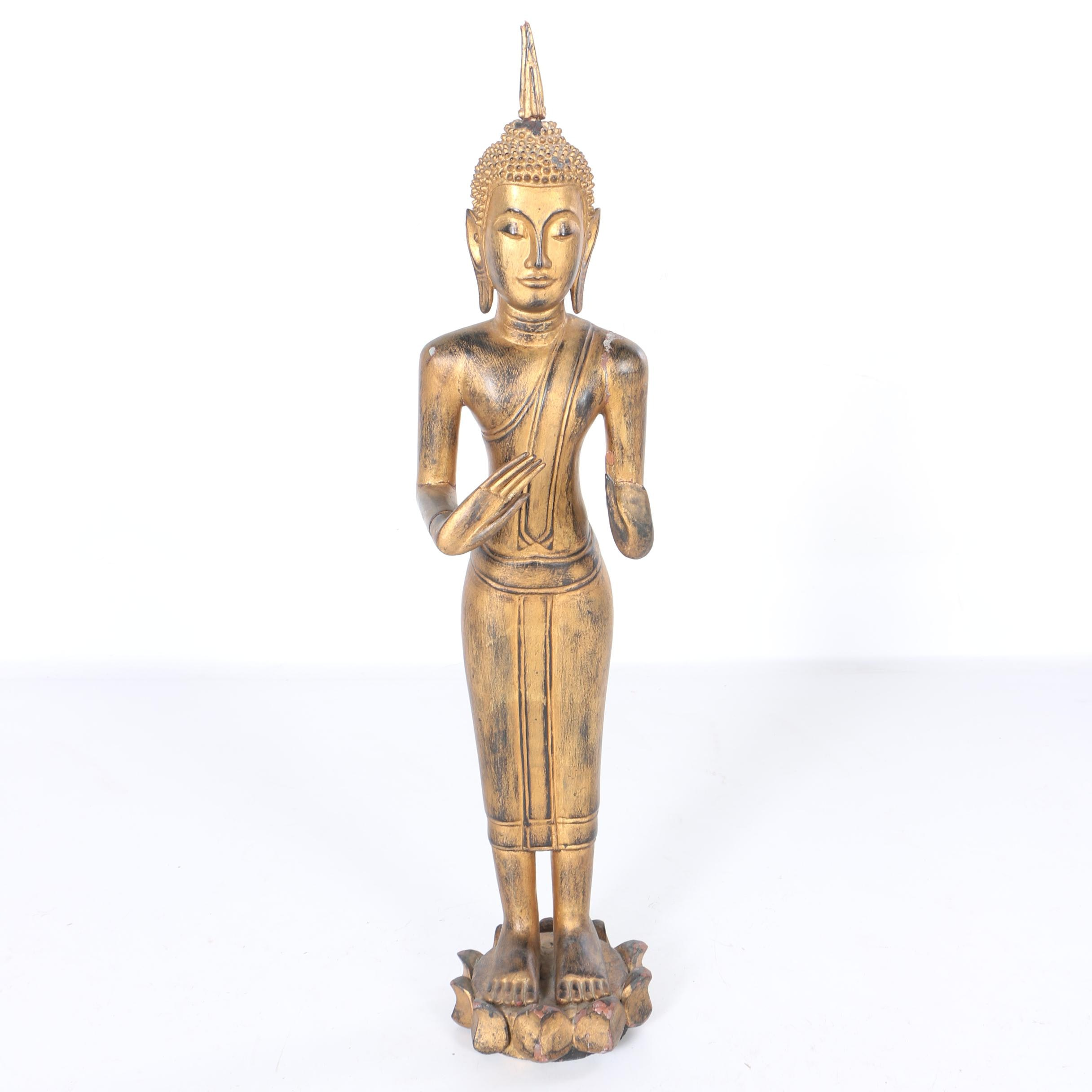 Carved Wooden Standing Thai Buddha Statue