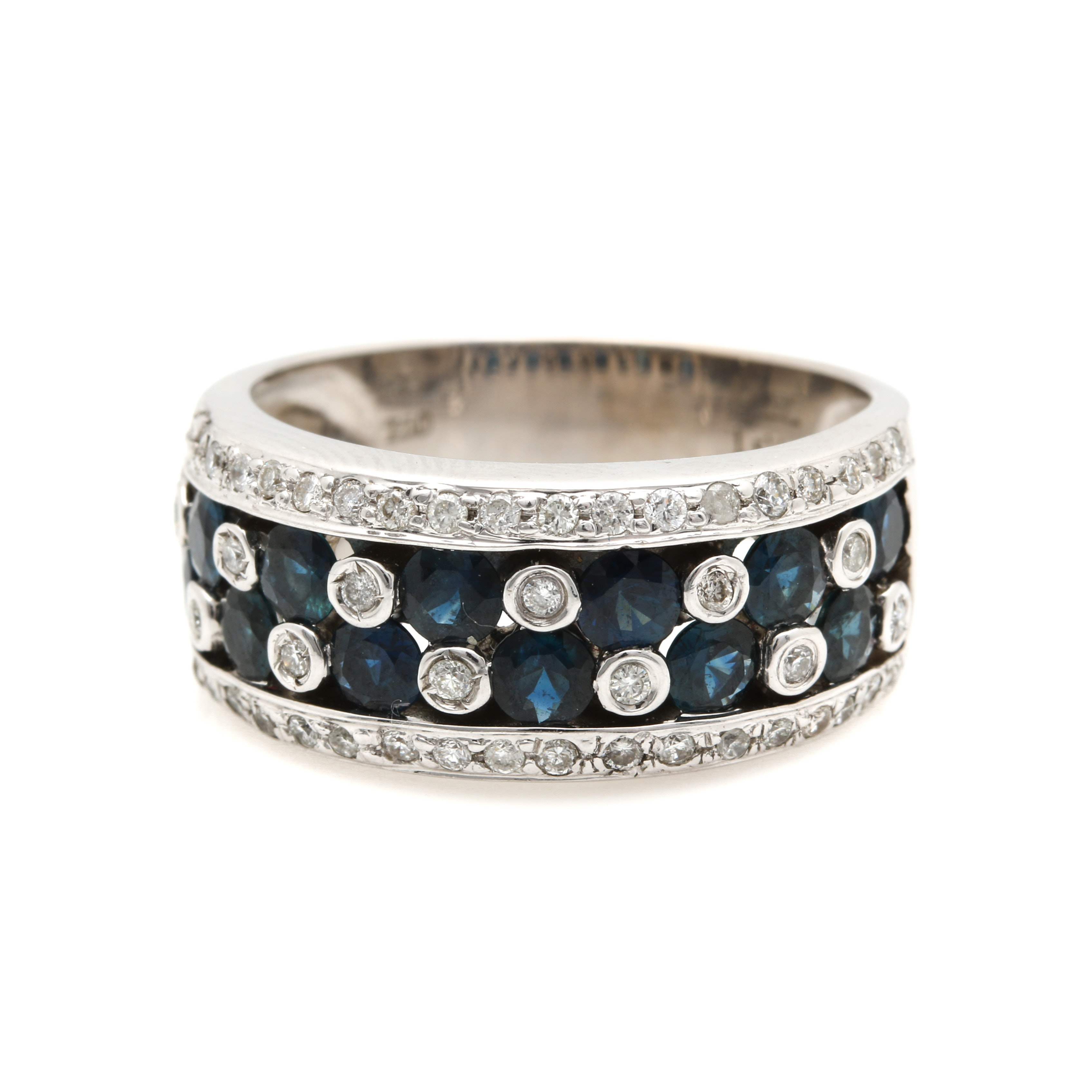 LeVian 18K White Gold Sapphire and Diamond Ring