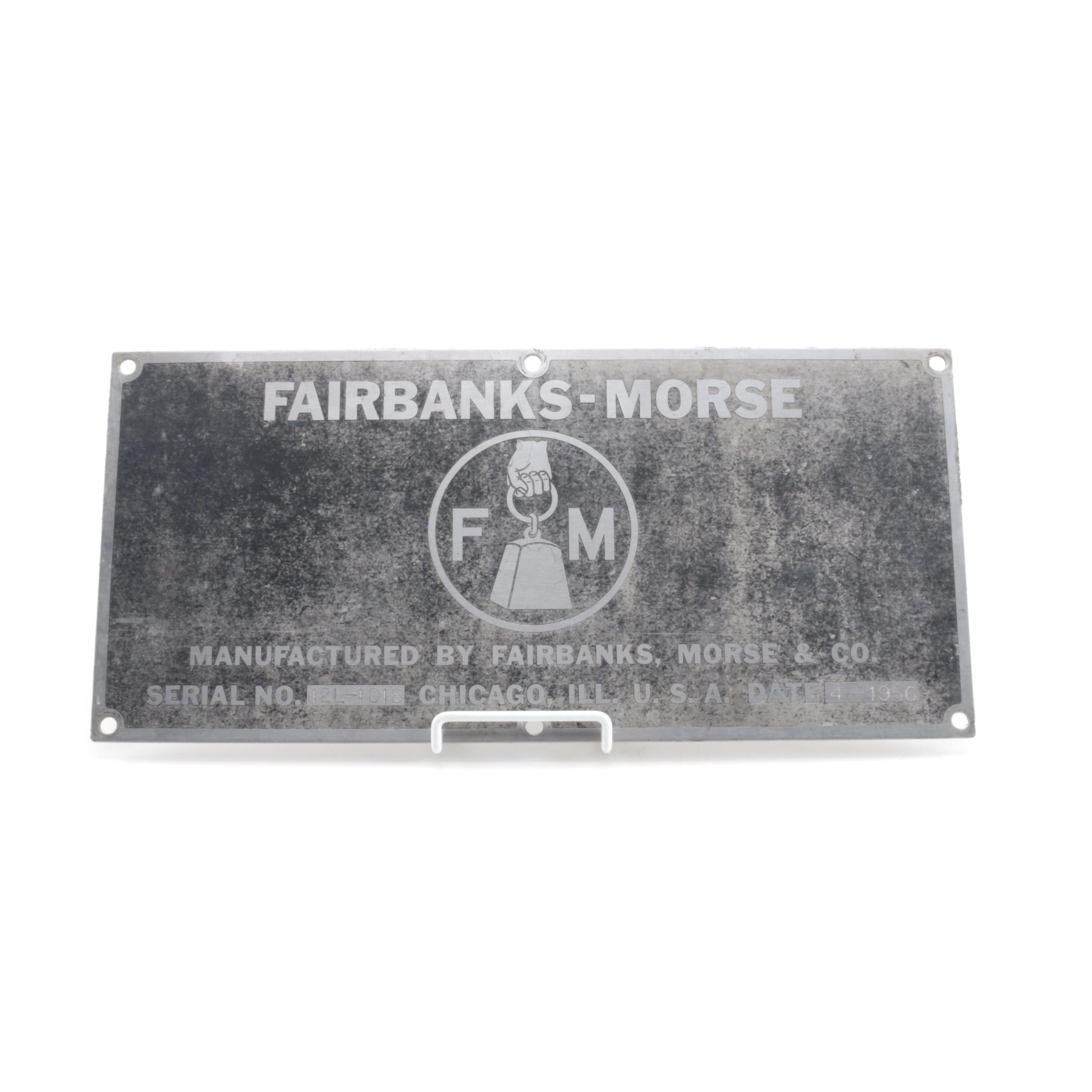 1956 Fairbanks, Morse & Co. Identification Tag, Serial No. 12L-1018