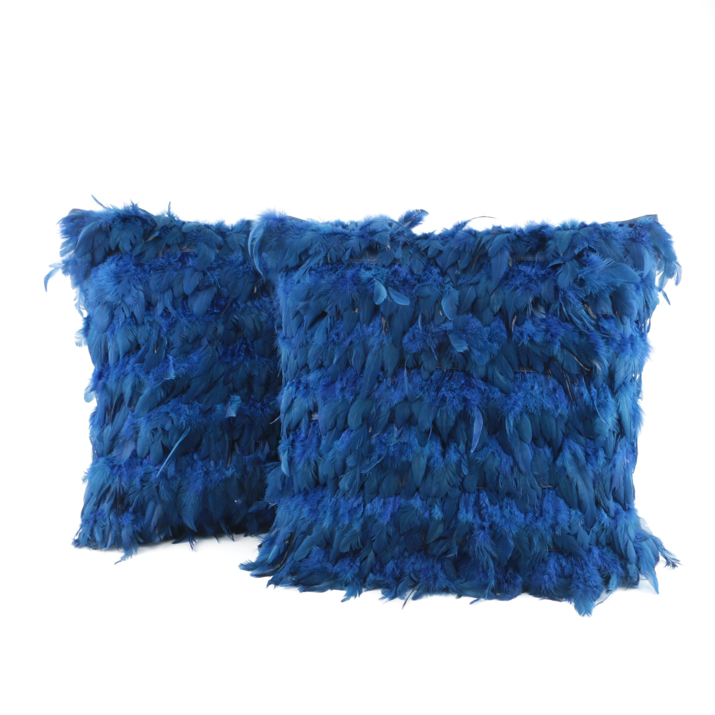 Blue Feather Accent Pillows