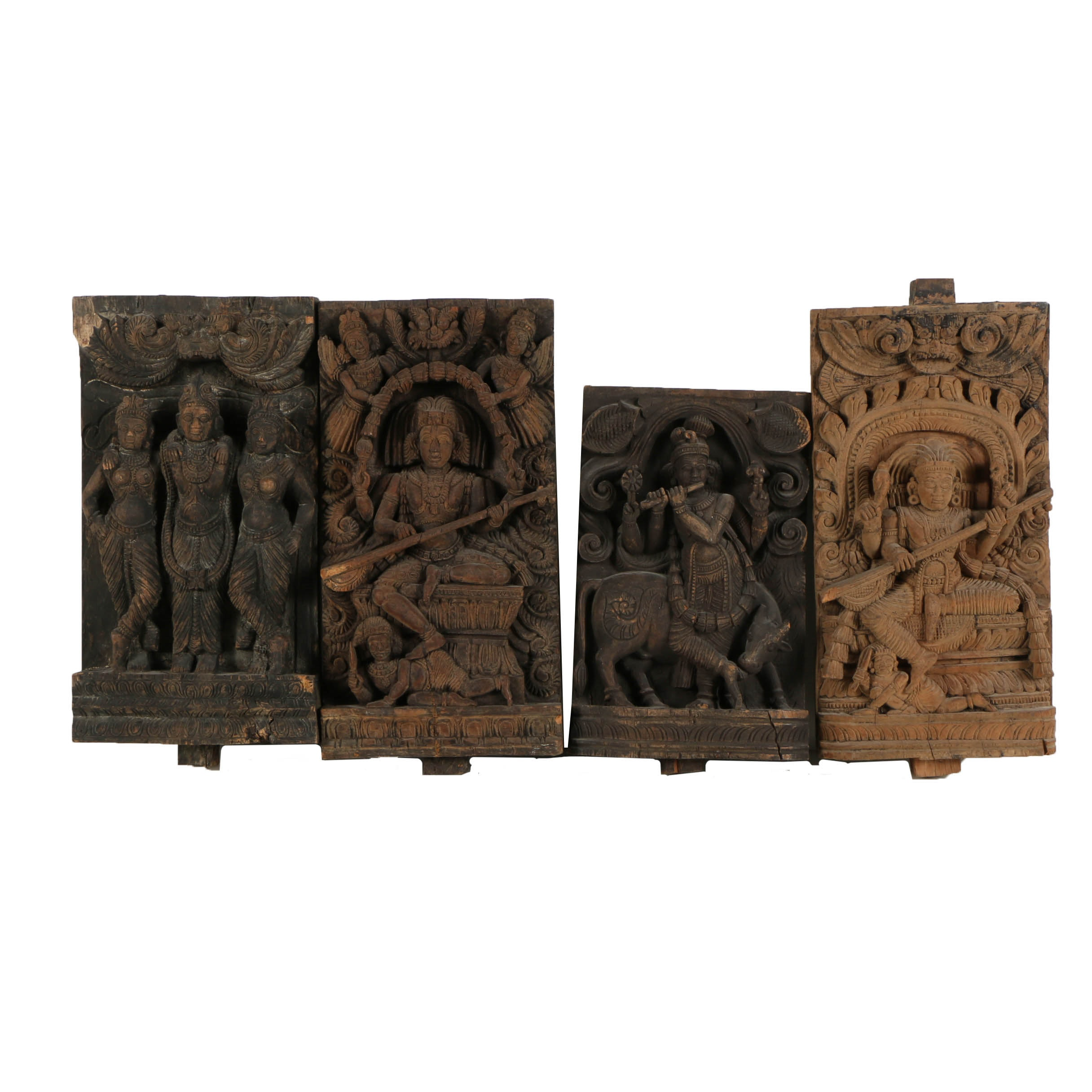 South Indian Hindu Wooden Relief Carvings