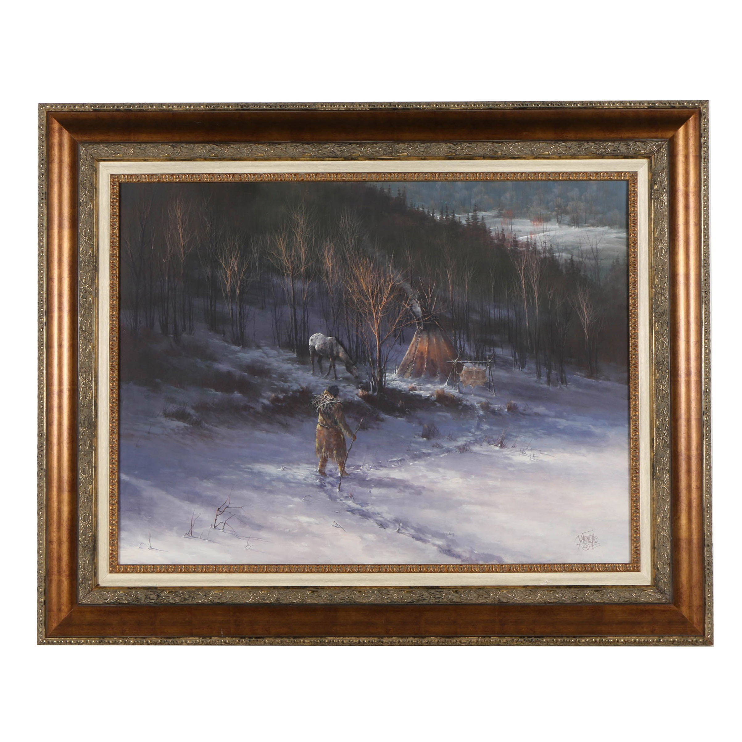 "Joseph Yarnell Oil Painting on Canvas ""Indian and Teepee by Forest"""