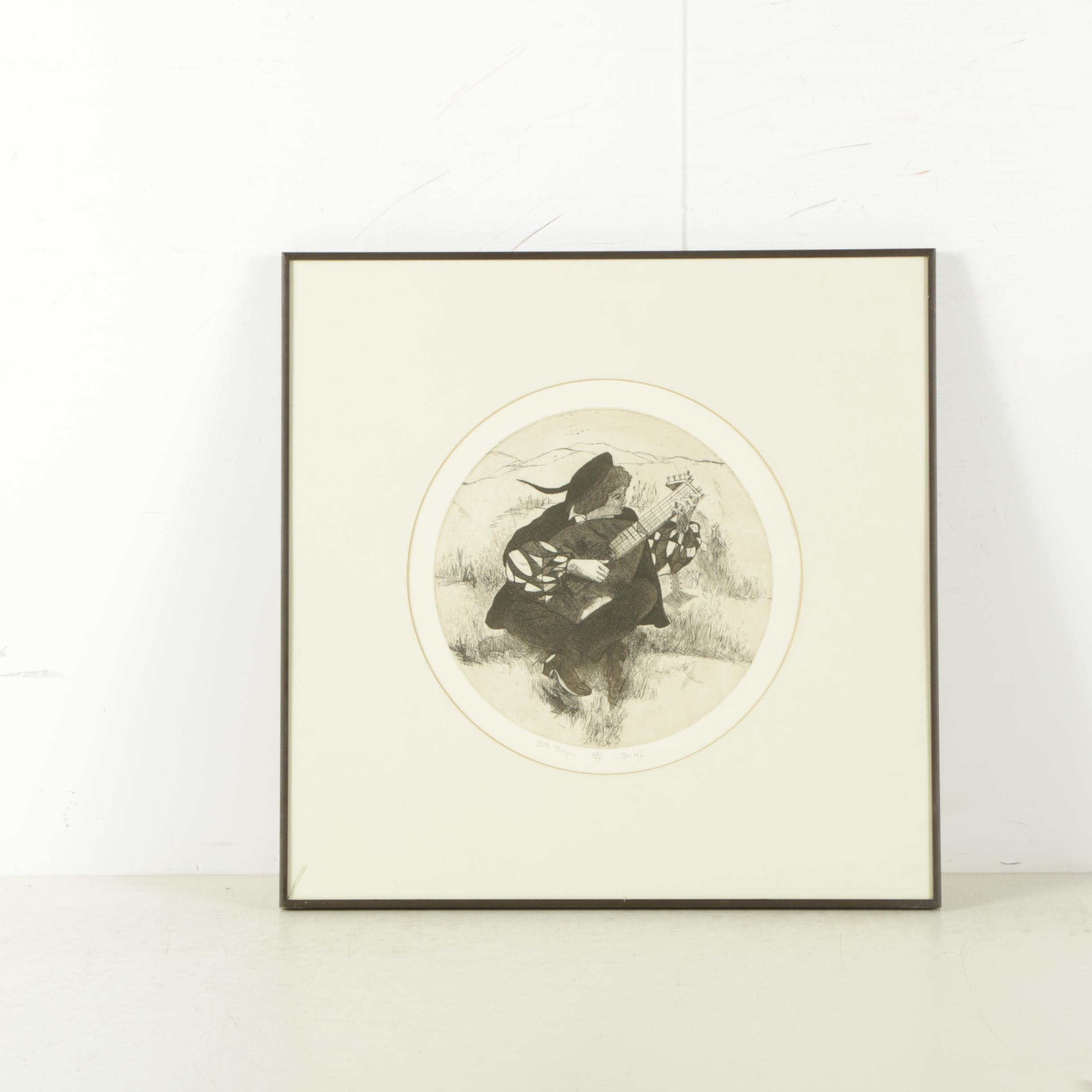 "Boroff Limited Edition Aquatint Etching on Paper ""Lute Player"""