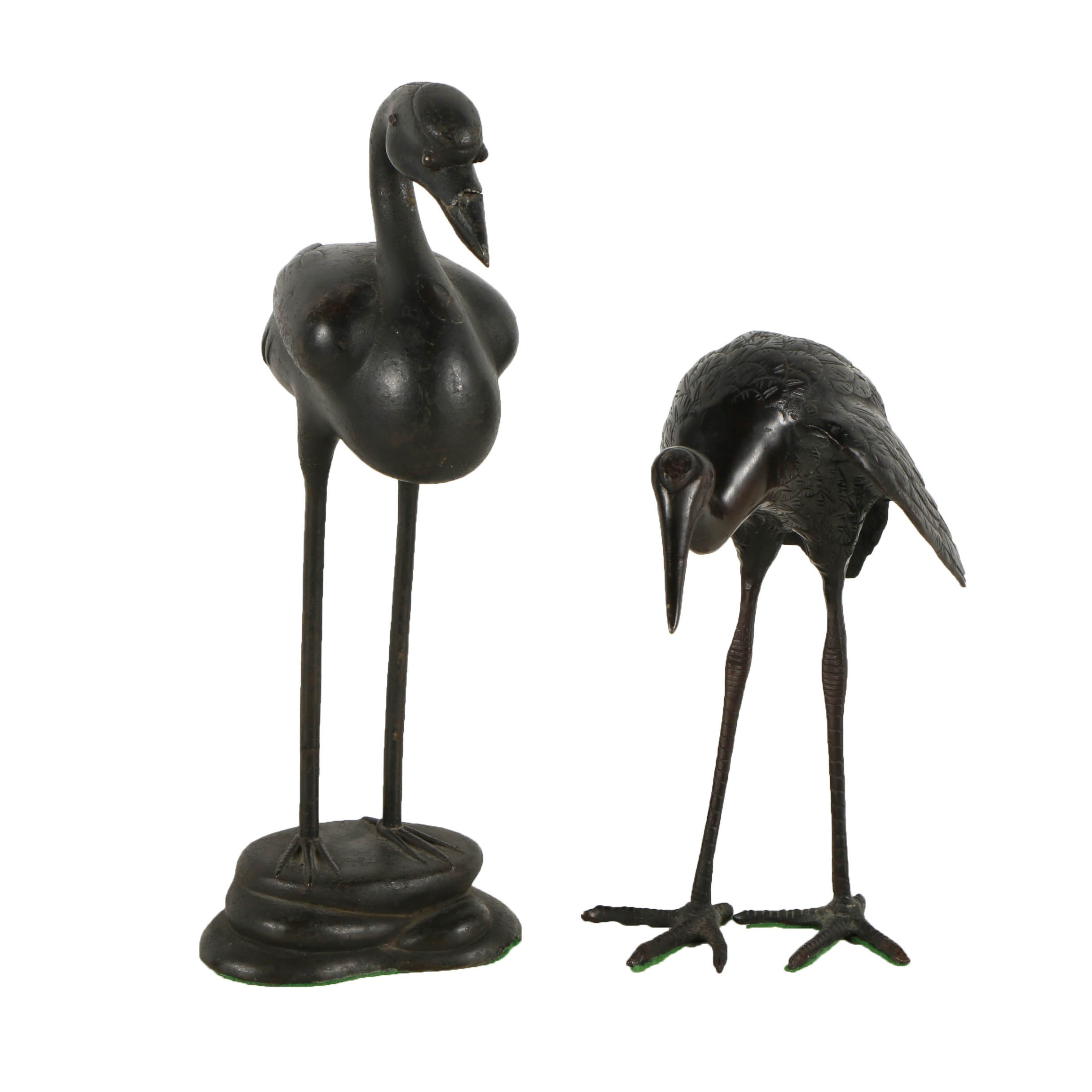 Zinc and Copper Sculptures of Cranes