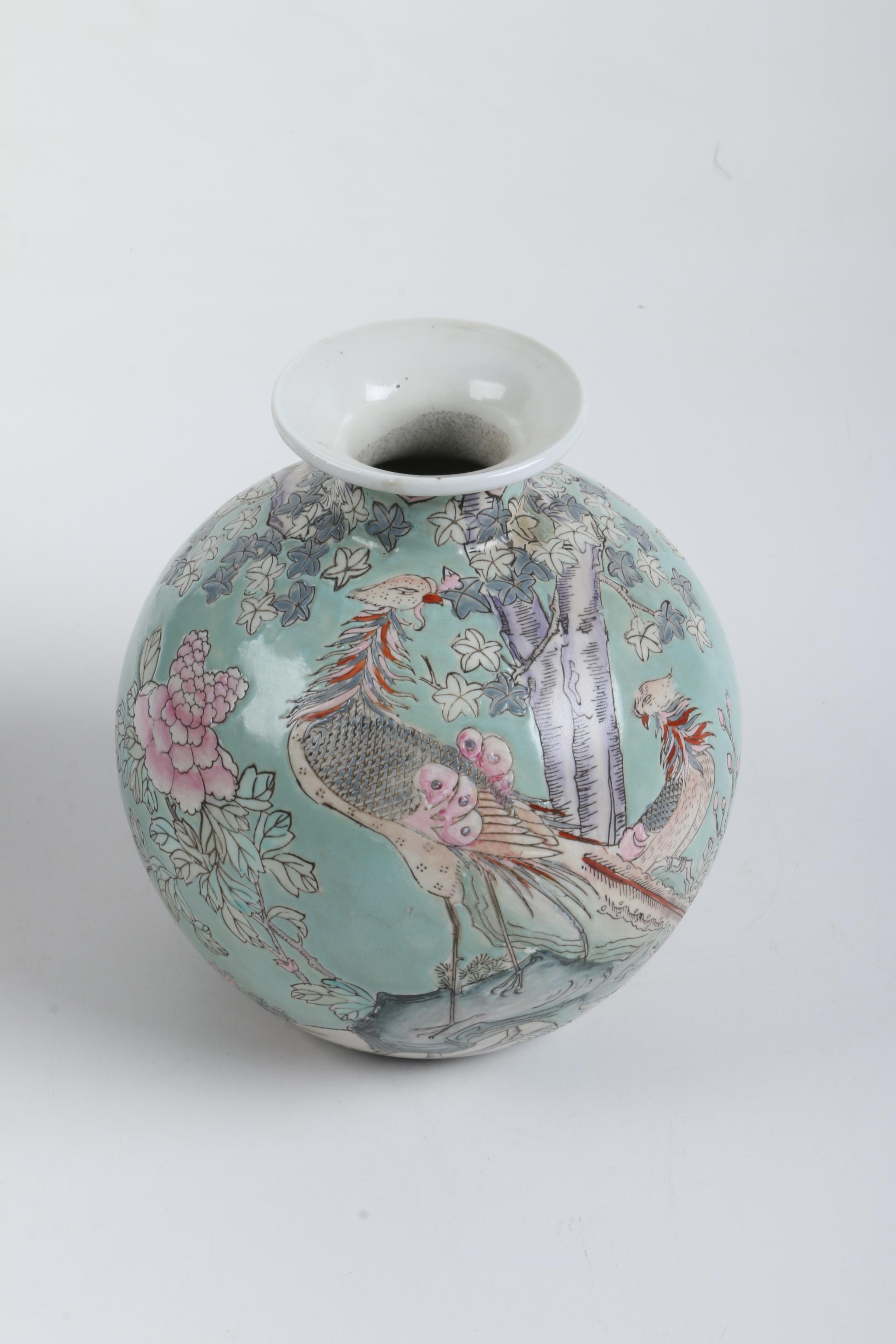 Asian-Inspired Porcelain Vase in Teal