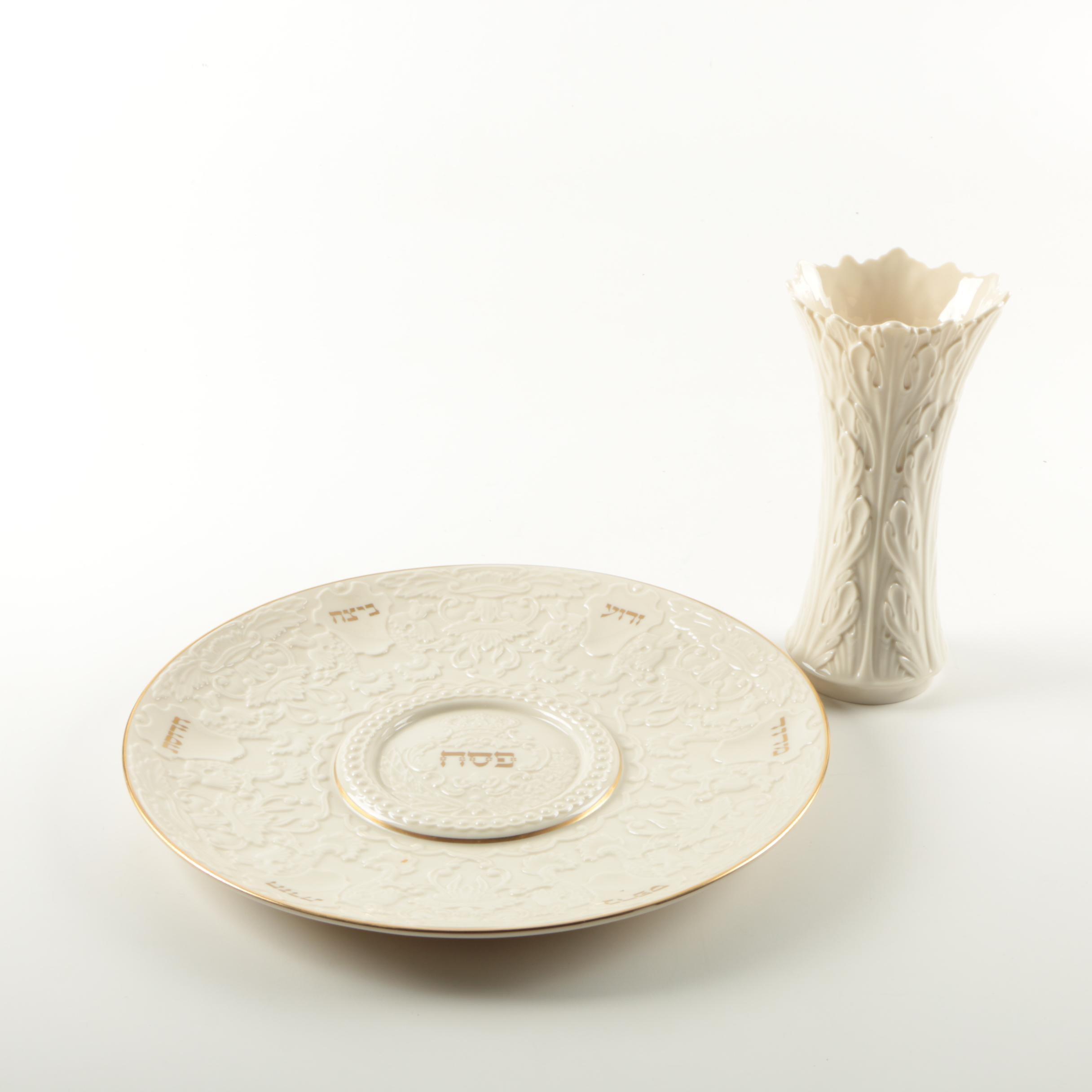Lenox Seder Plate and Lenox Vase