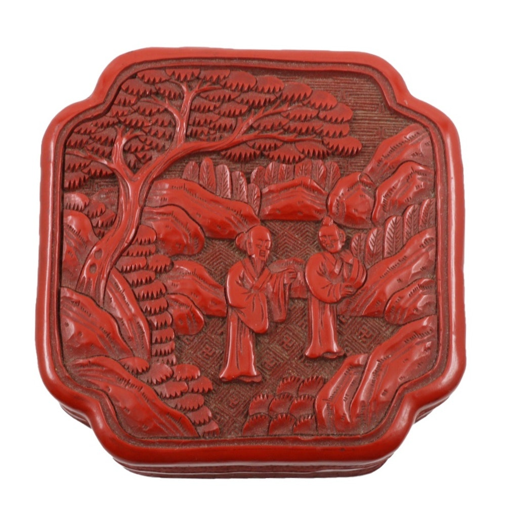 Chinese Quatrefoil-Shaped Cinnabar Box With Carved Lid