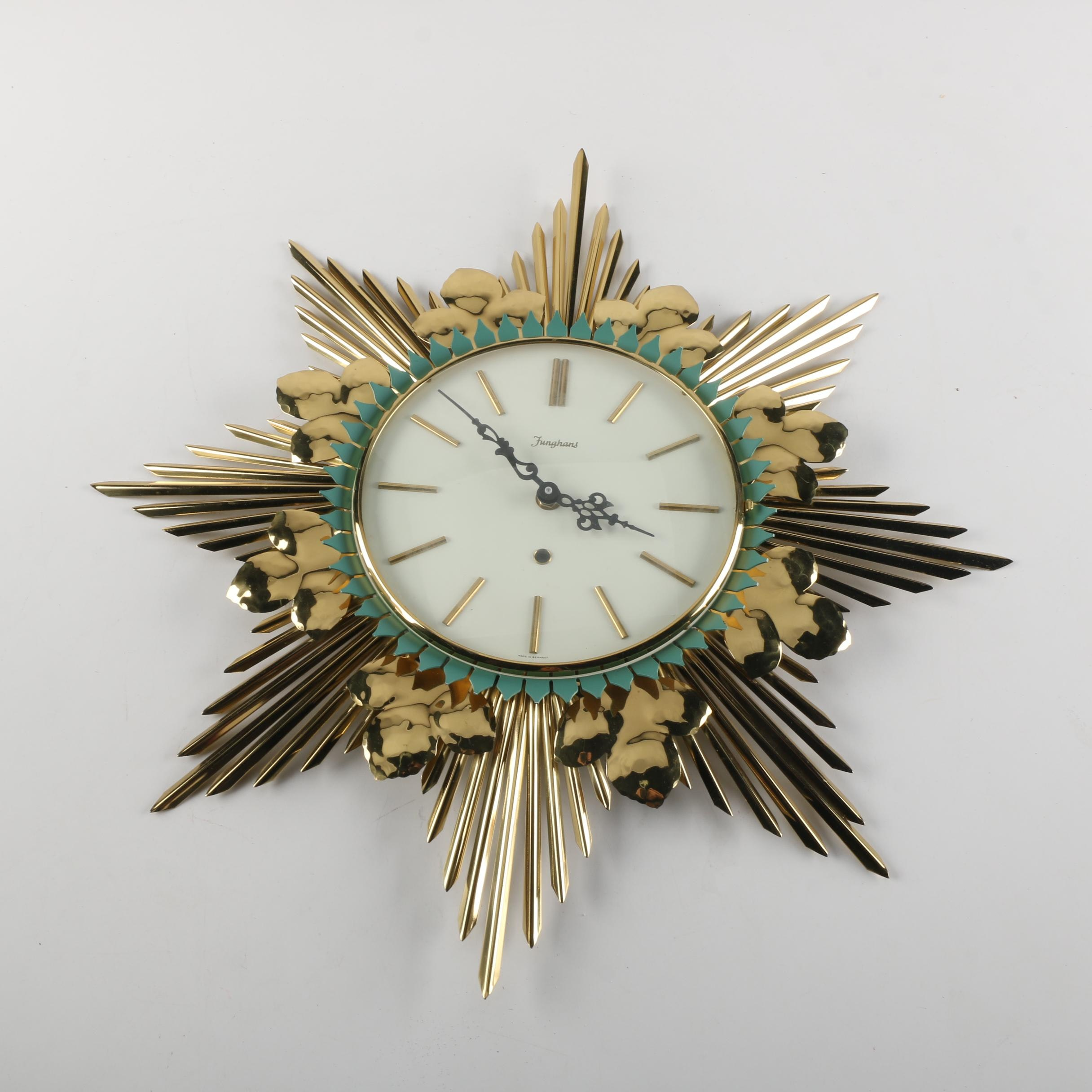 Funghans Hollywood Regency Style Wall Clock