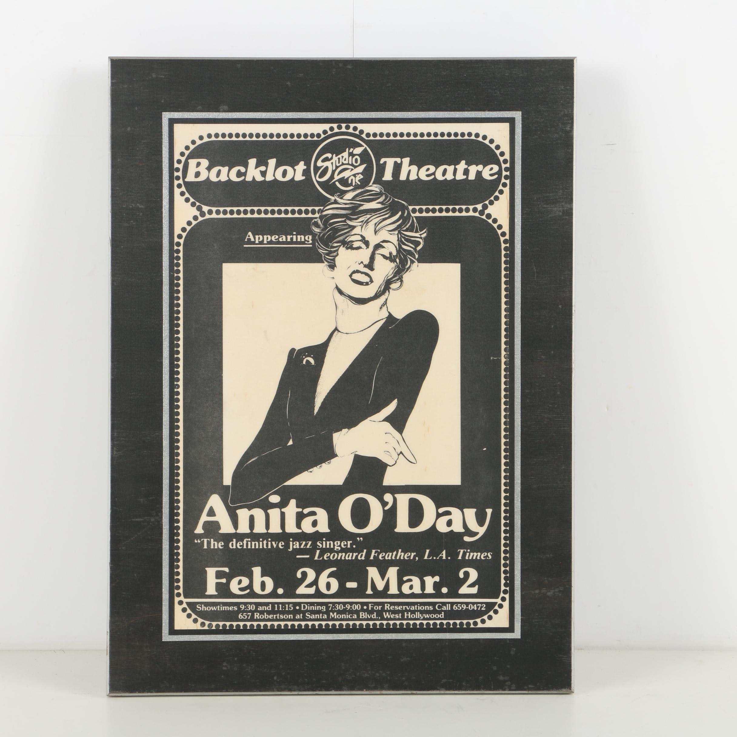 Backlot Theatre Poster for Anita O'Day Performance