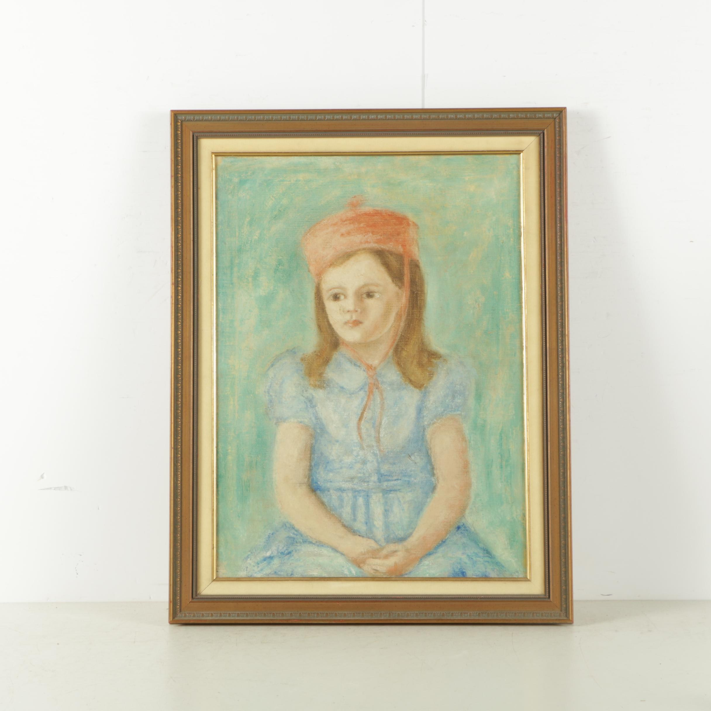 Oil Painting on Canvas of Girl in Blue Dress and Red Hat