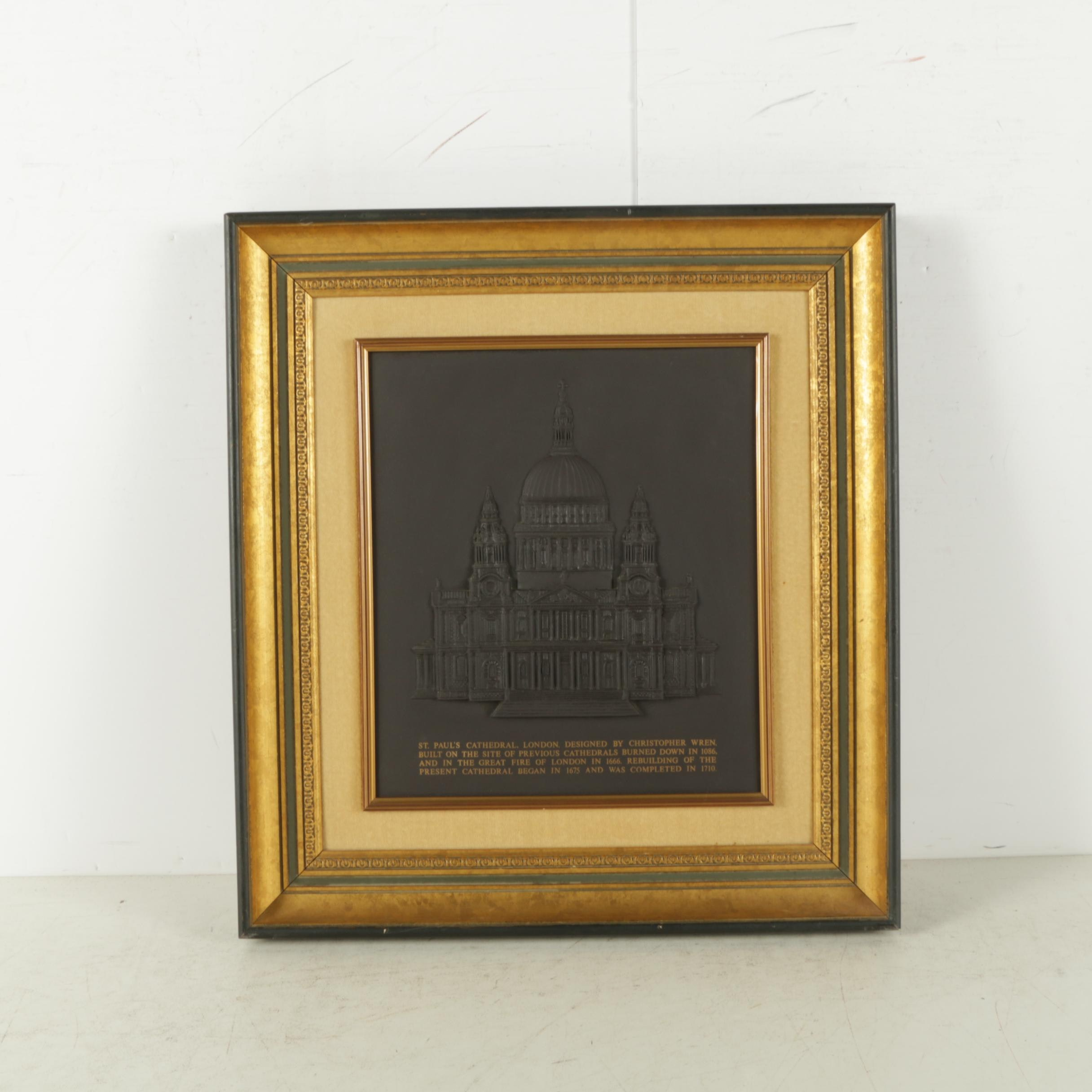 """Limited Edition Wedgwood Black Basalt """"St. Paul's Cathedral"""" Plaque"""