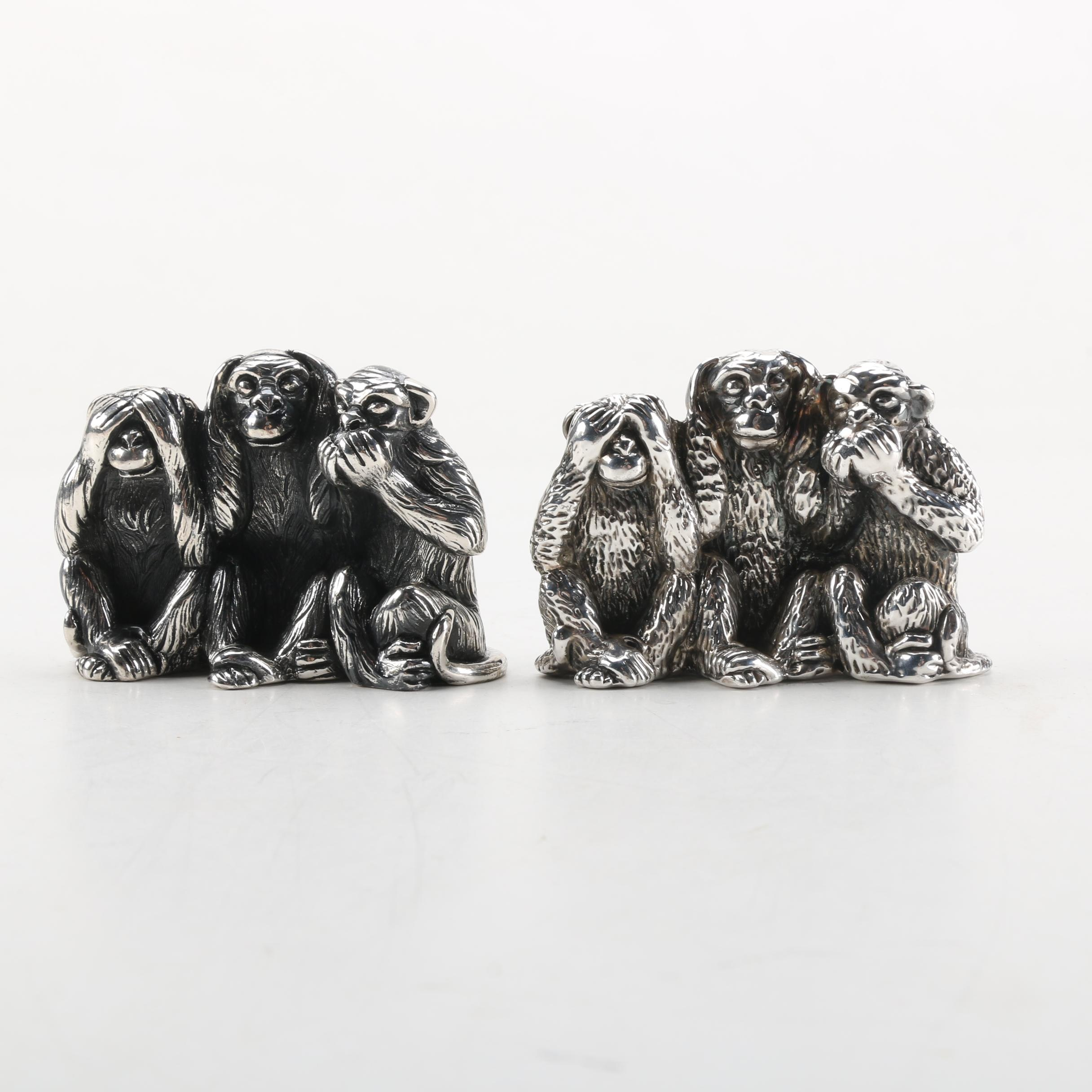 "Italian and Israeli Sterling Silver ""See, Hear, Speak No Evil"" Figurines"