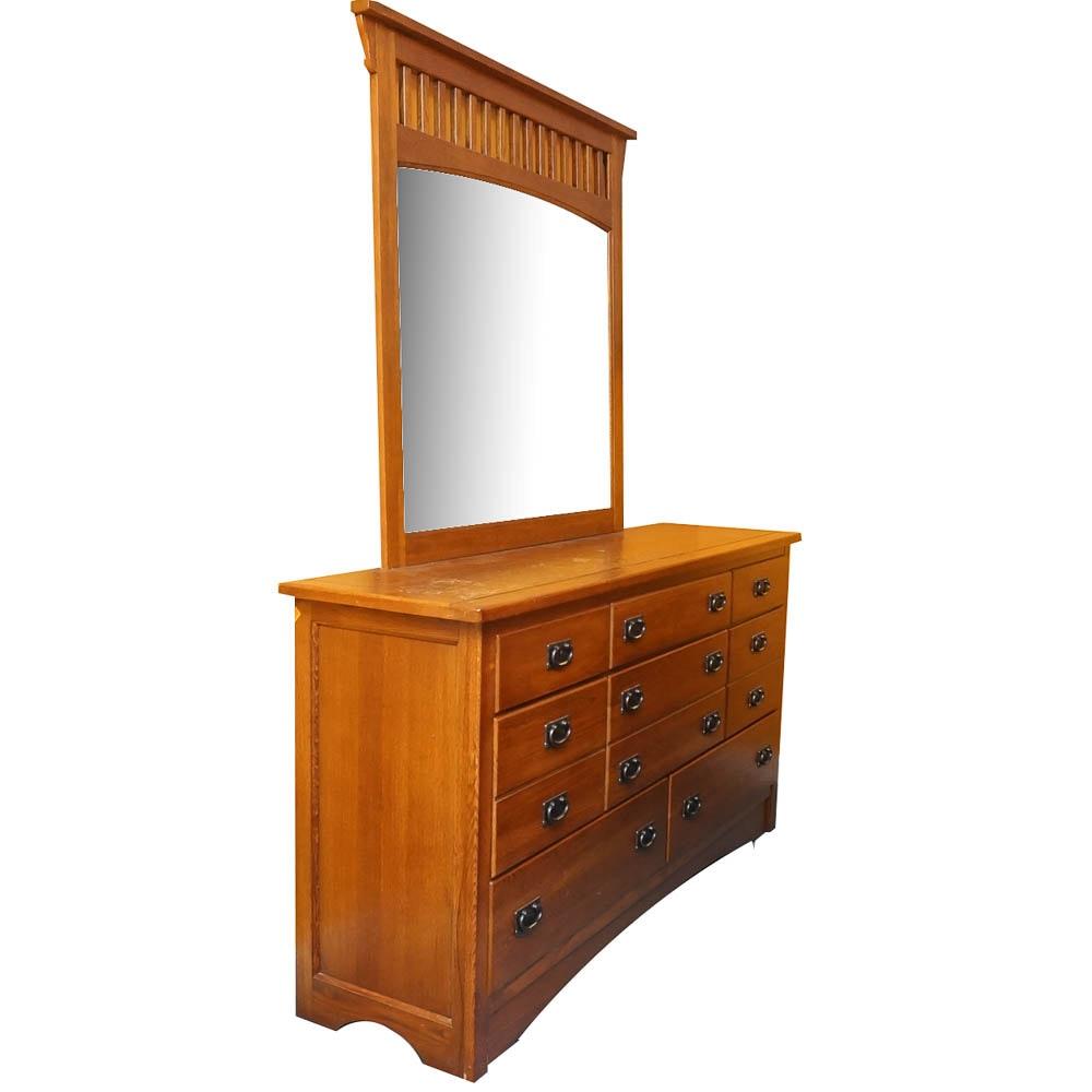 Mission Style Oak Dresser With Mirror