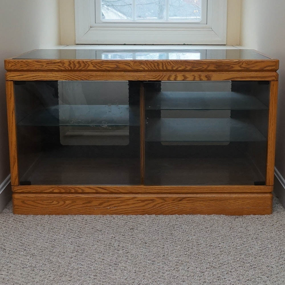 Glass and Oak Entertainment Cabinet