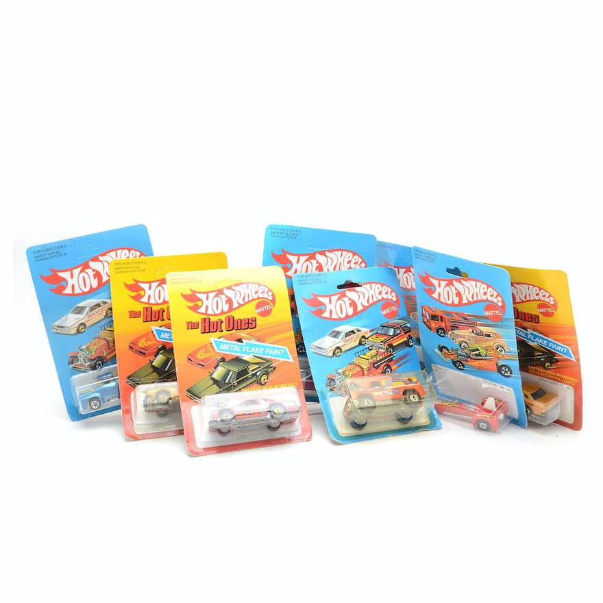 Collection of 1983 Hot Wheels Die Cast Cars on Backer Cards