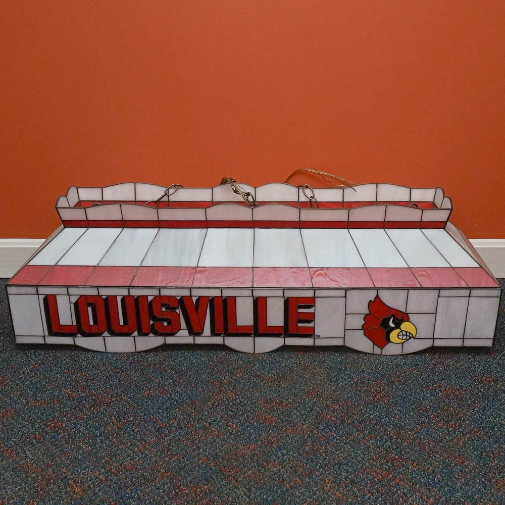 University of Louisville Cardinals Stained Glass Hanging Light Fixture