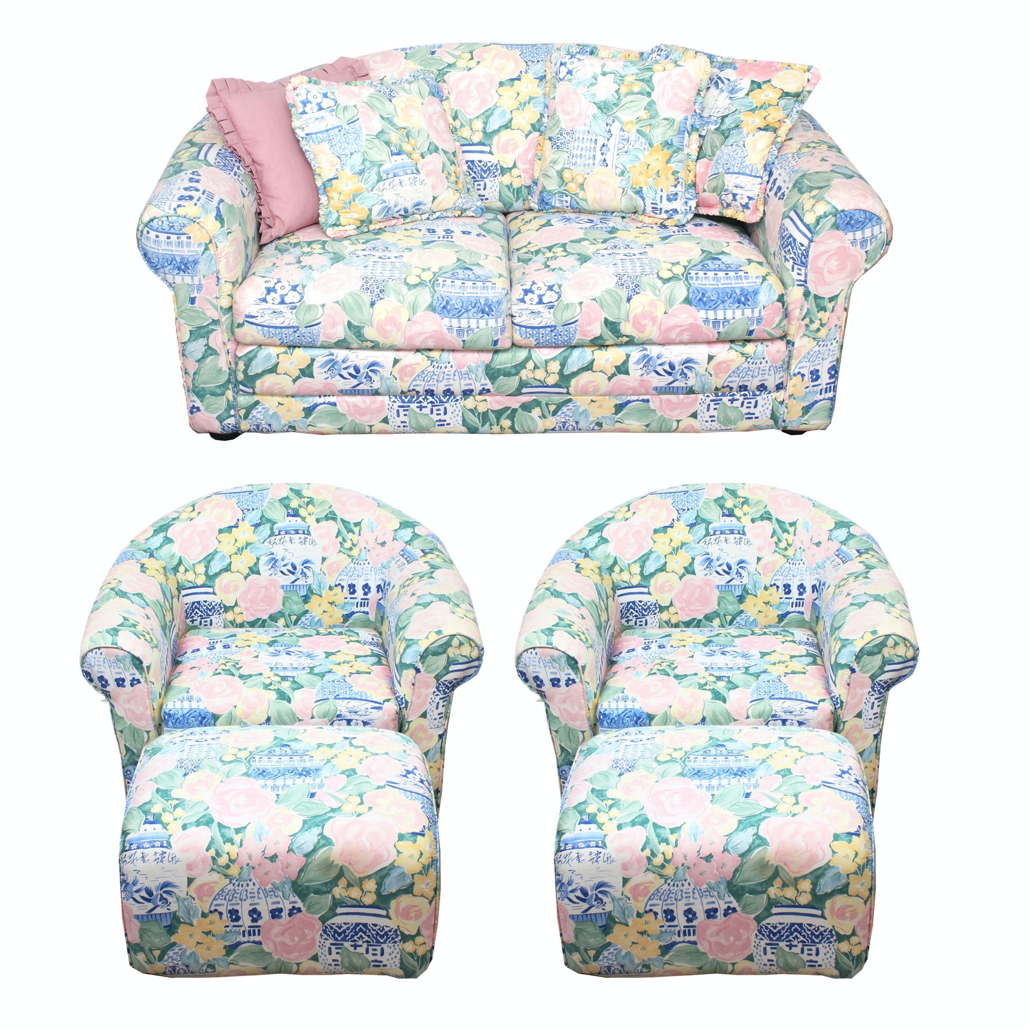 Vintage Sleeper Loveseat and Chairs with Ottomans