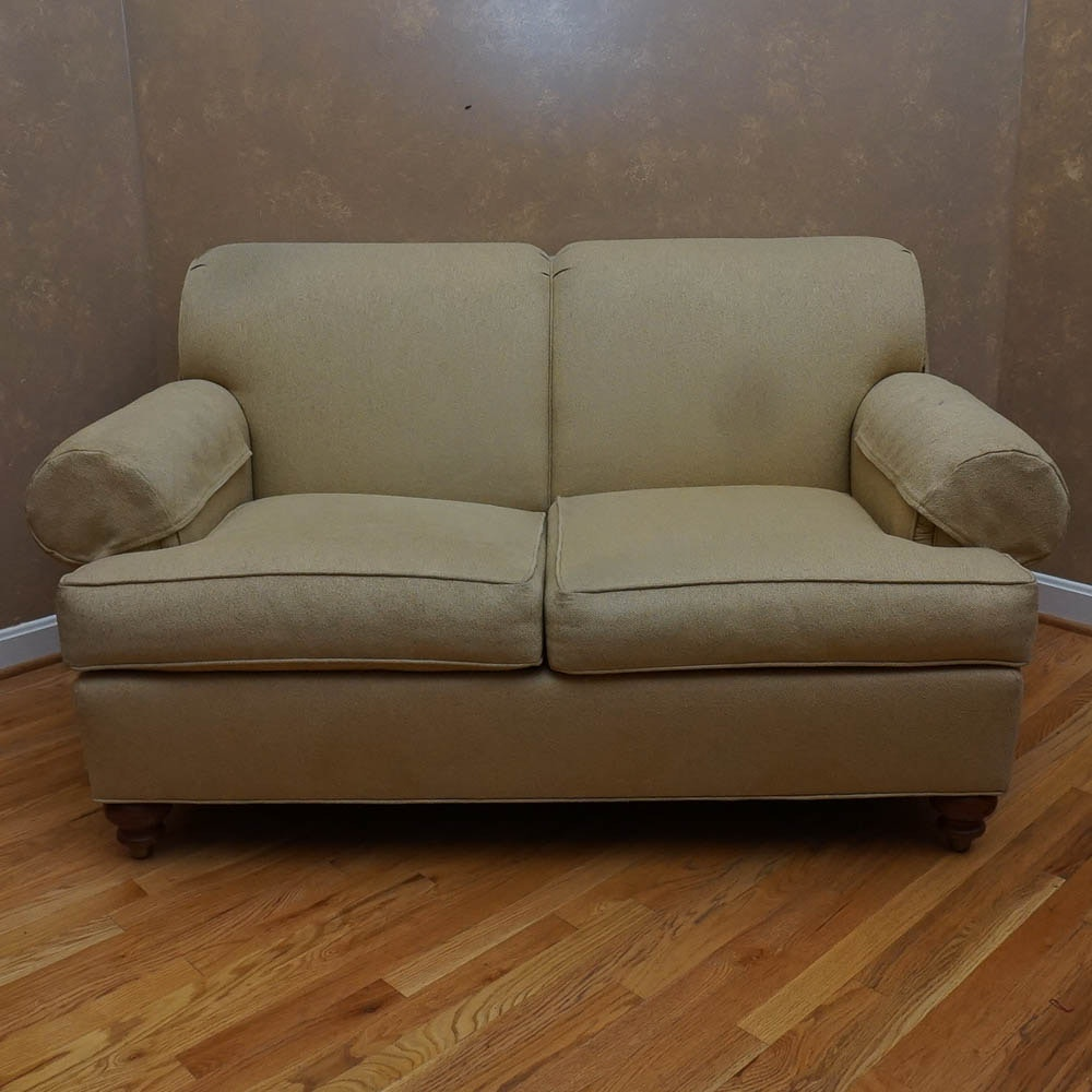 Ethan Allen Tan-Upholstered Love Seat